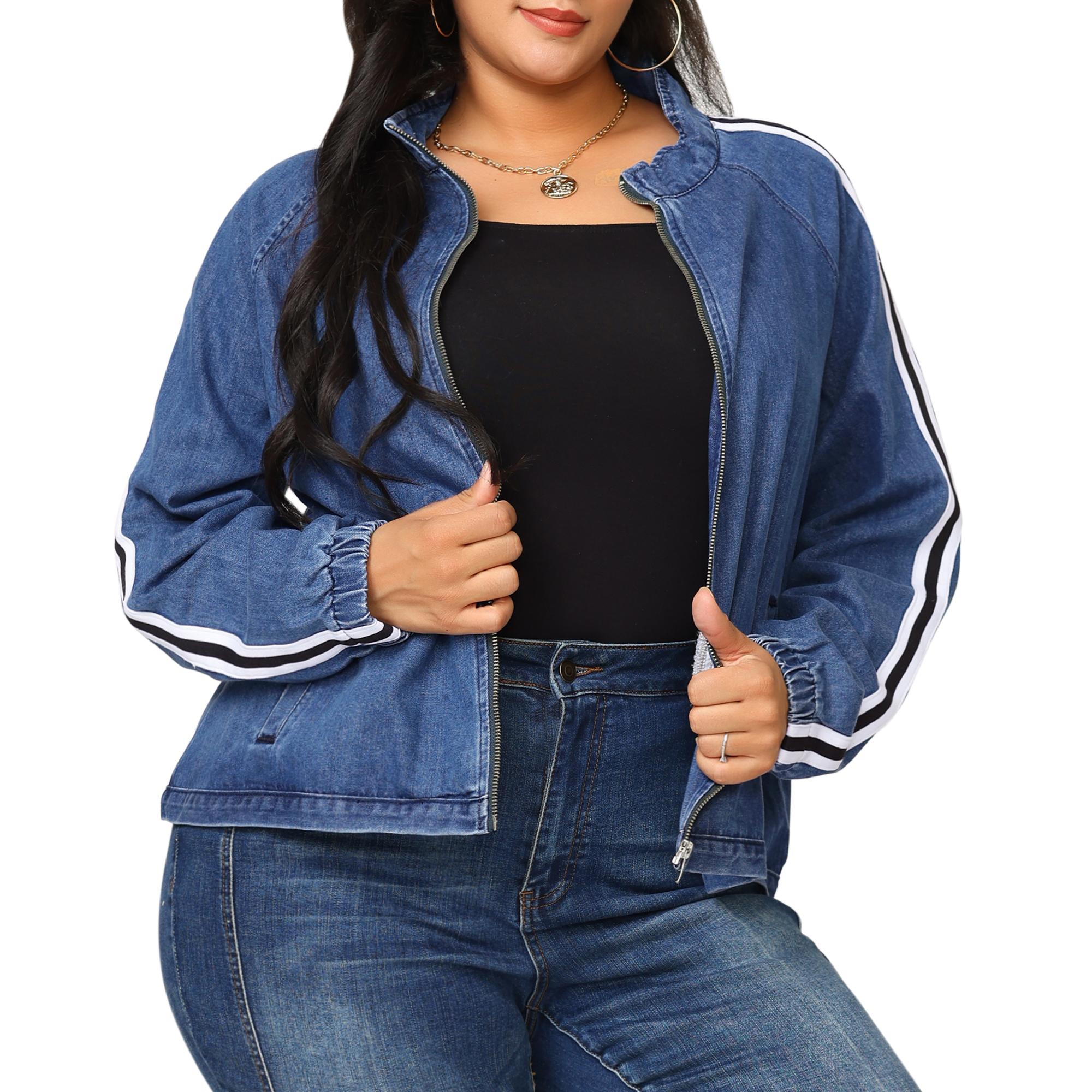 Women's Plus Size Jacket Contrast Color Stand Collar Denim Jackets Blue 2X