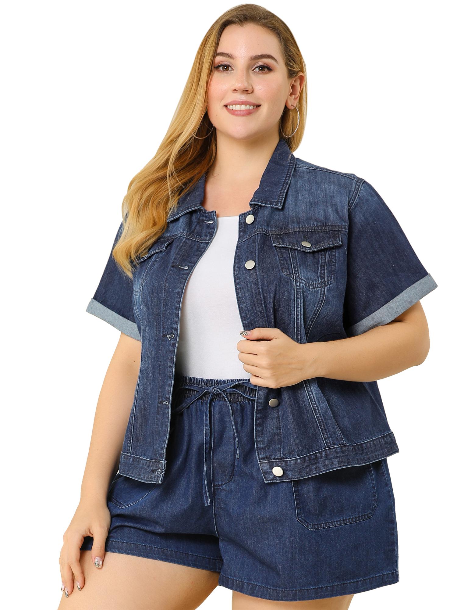 Women's Plus Size Denim Jacket Button Crop Short Sleeve Jackets Navy Blue 1X