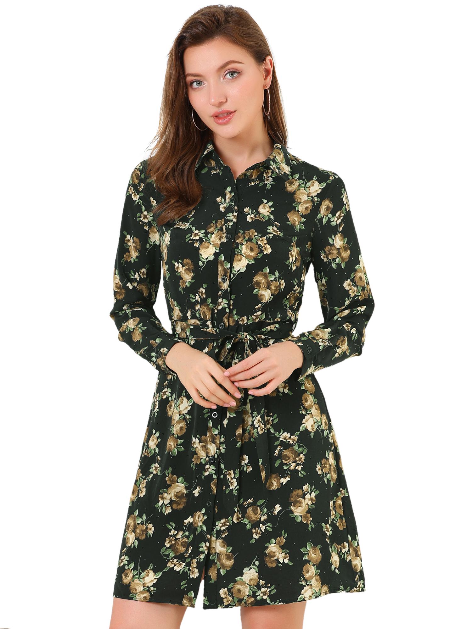 Allegra K Women's Button Down Polka Dots Floral Shirt Dress Black XS