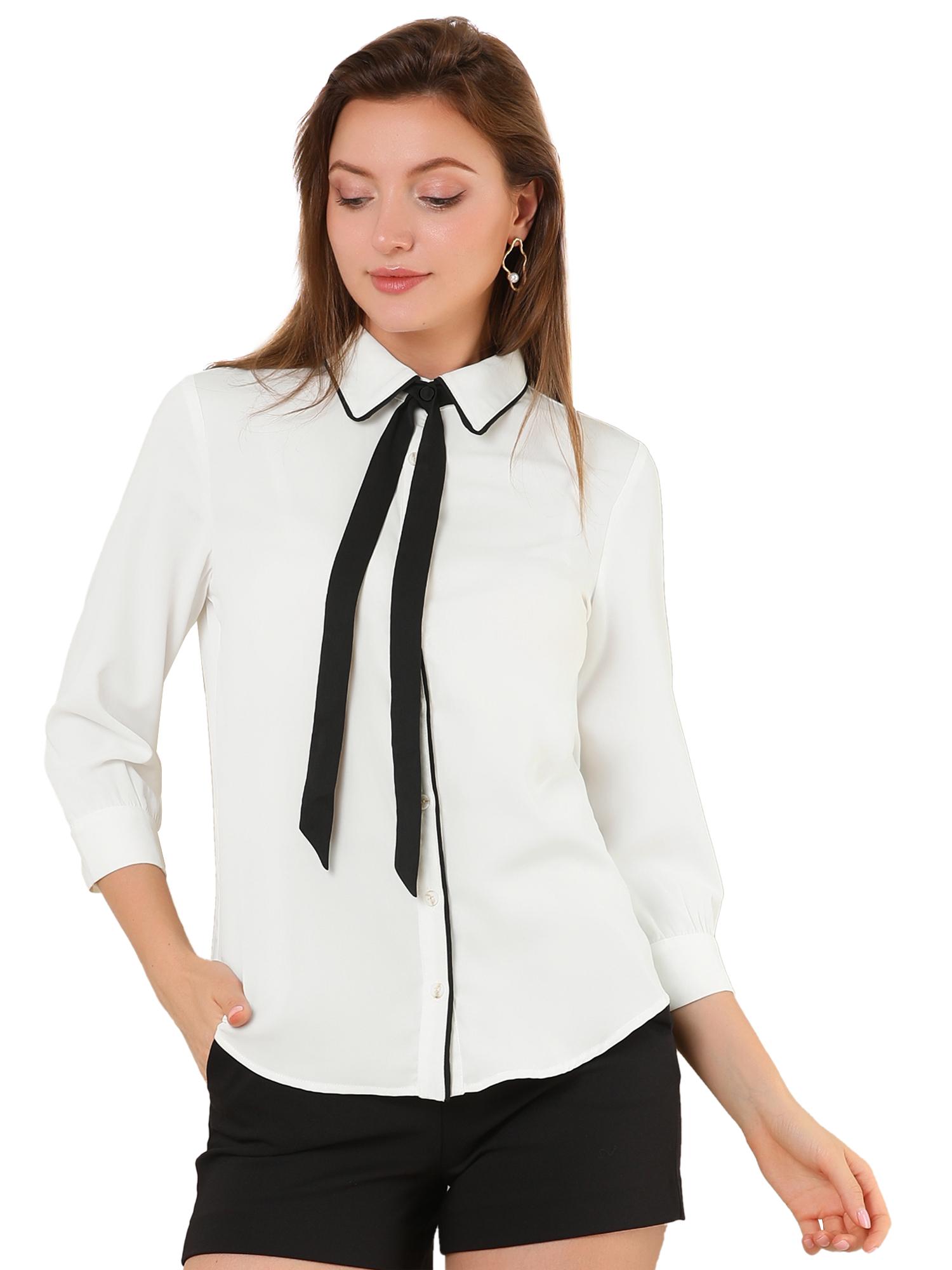 Allegra K Women's Work Elegant Tie Neck Blouse Button Up Shirt White L