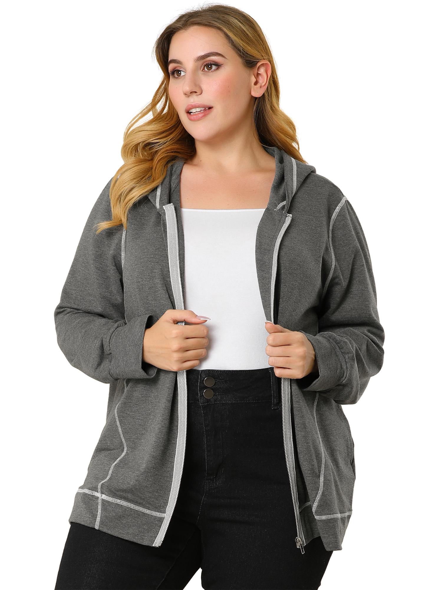 Women's Plus Size Hoodie Zip Front Long Sleeve Pockets Hoodies Dark Gray 1X