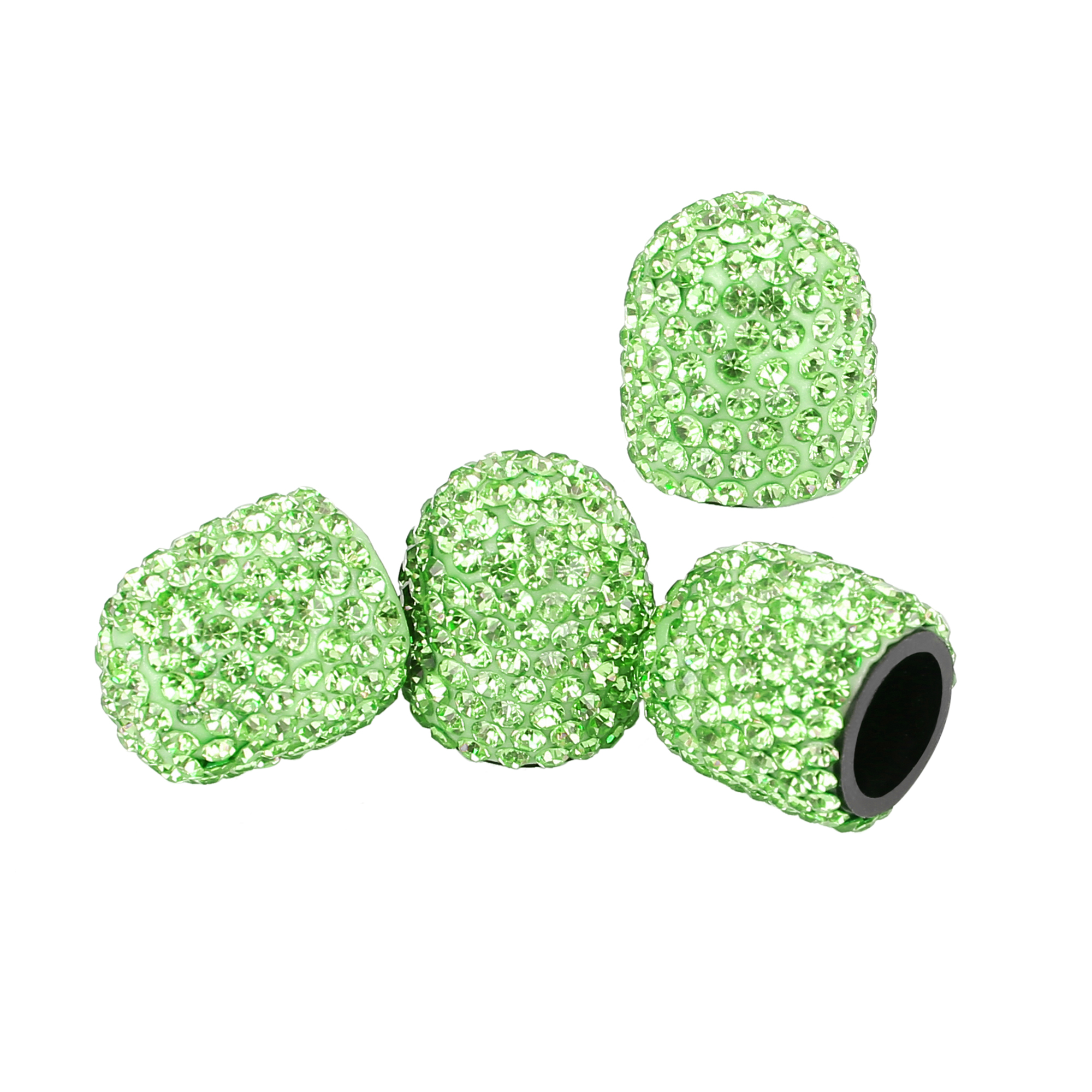 4PCS Bling Faux Crystal Tire Valve Stem Caps Tyre Air Cap Cover Green