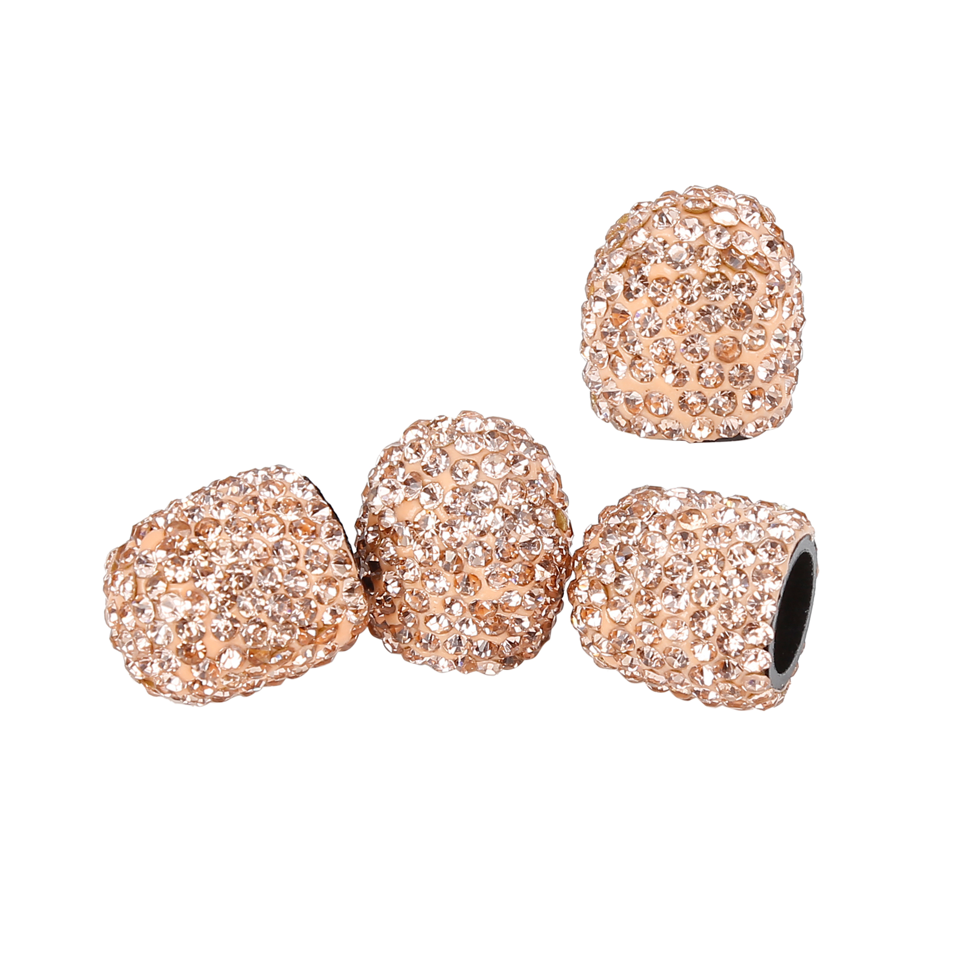 4PCS Bling Faux Crystal Tire Valve Stem Caps Tyre Air Cap Cover Peach Color