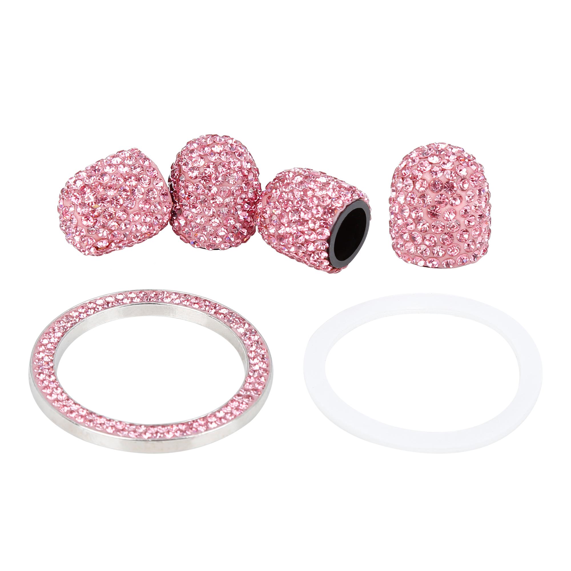 4PCS Bling Tire Valve Stem Caps Tyre Air Cap Cover + Ring Emblem Pink