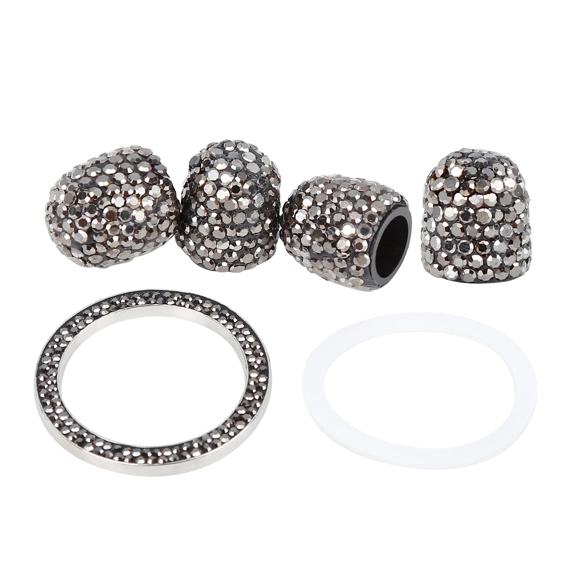 4PCS Bling Tire Valve Stem Tyre Air Caps Cover + Ring Emblem Gloss Black