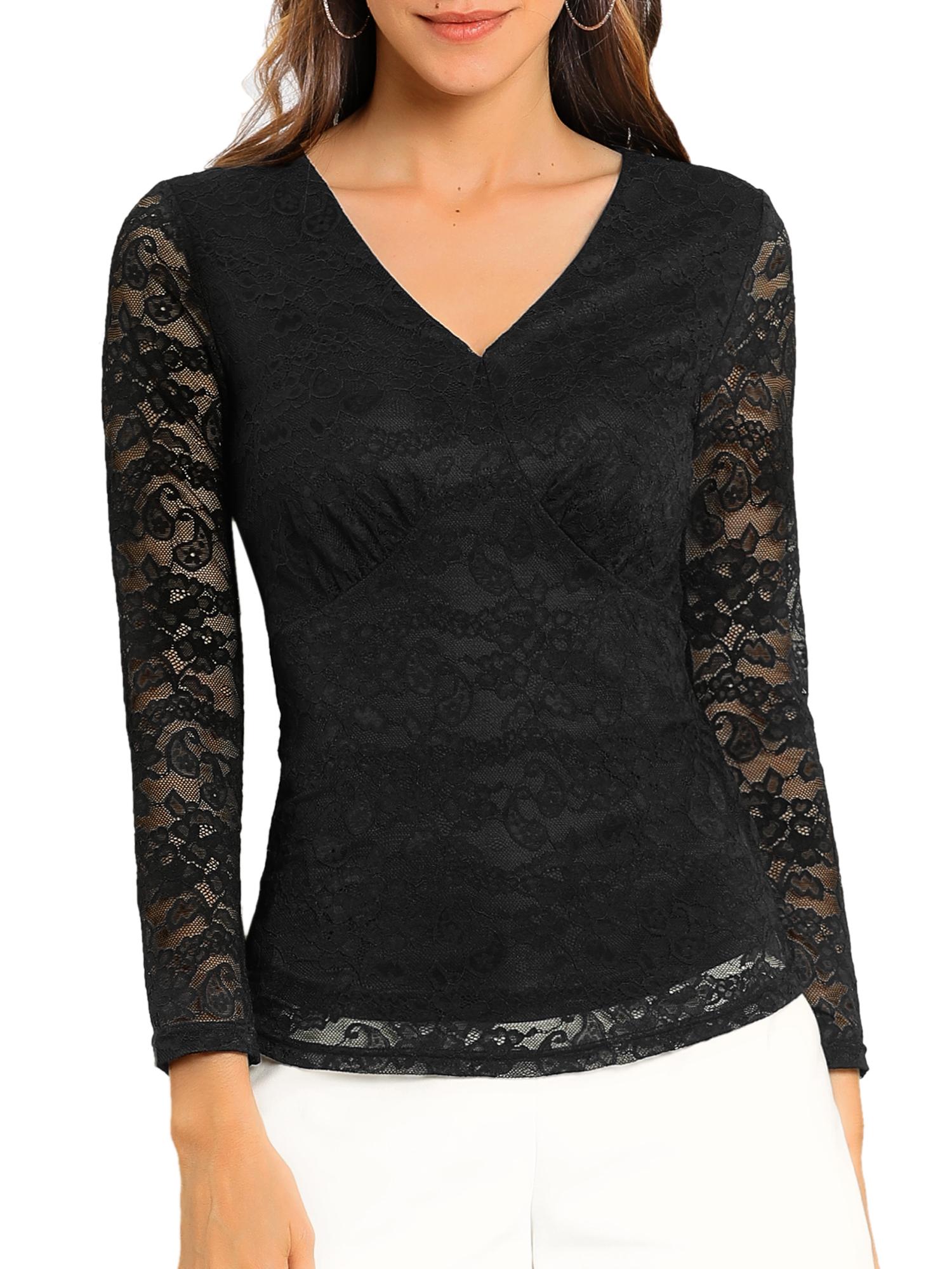 Allegra K Women's V Neck Slim Fit Lined Long Sleeve Lace Top Black XS