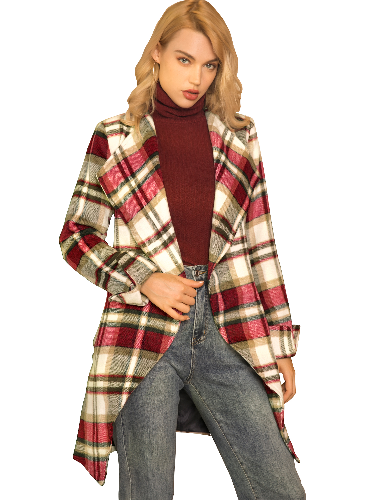 Allegra K Women's Shawl Collar Belted Plaid Coat Red White XS