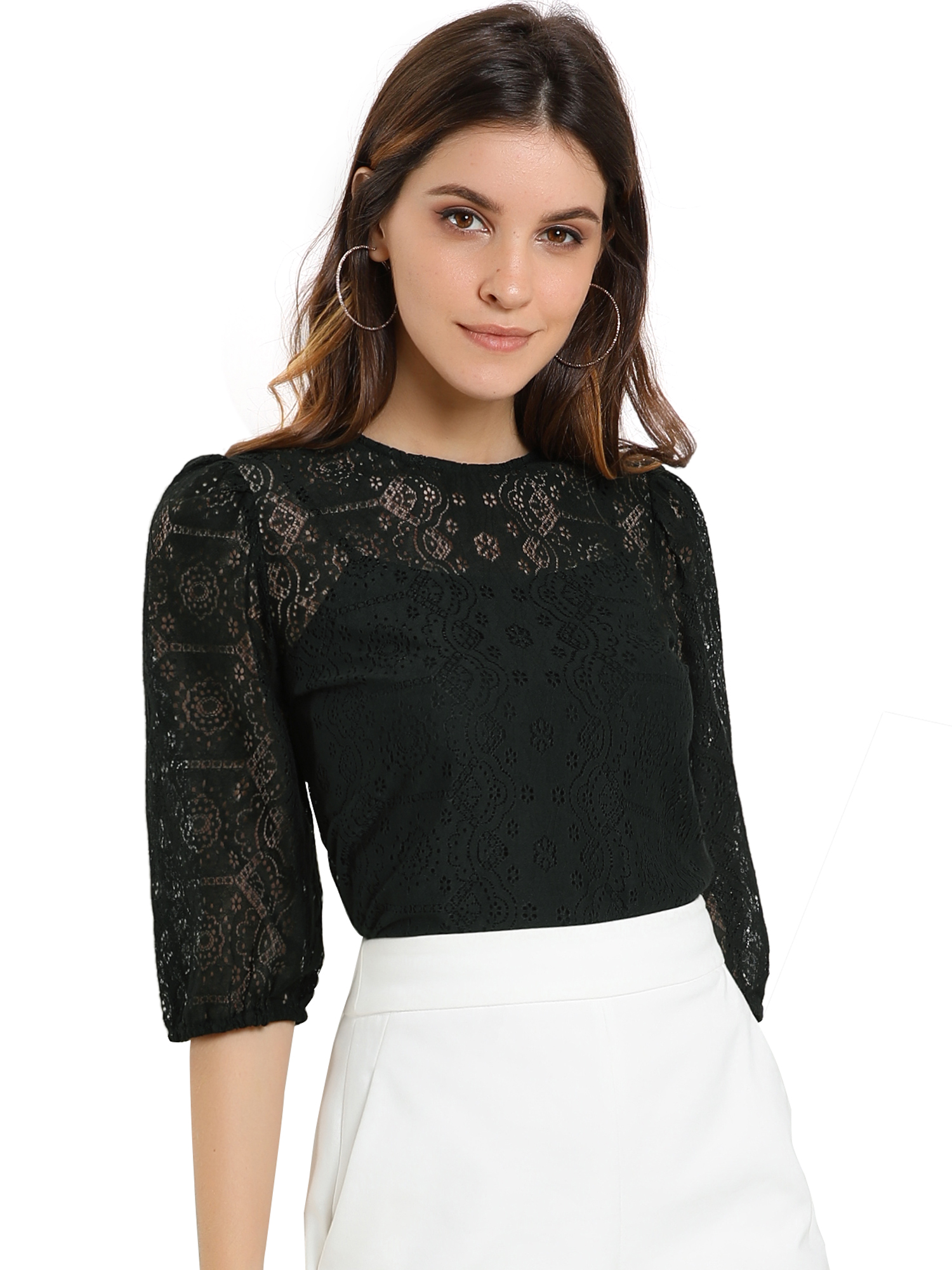 Allegra K Women's 3/4 Lantern Sleeve Semi Sheer Vintage Lace Tops Black L