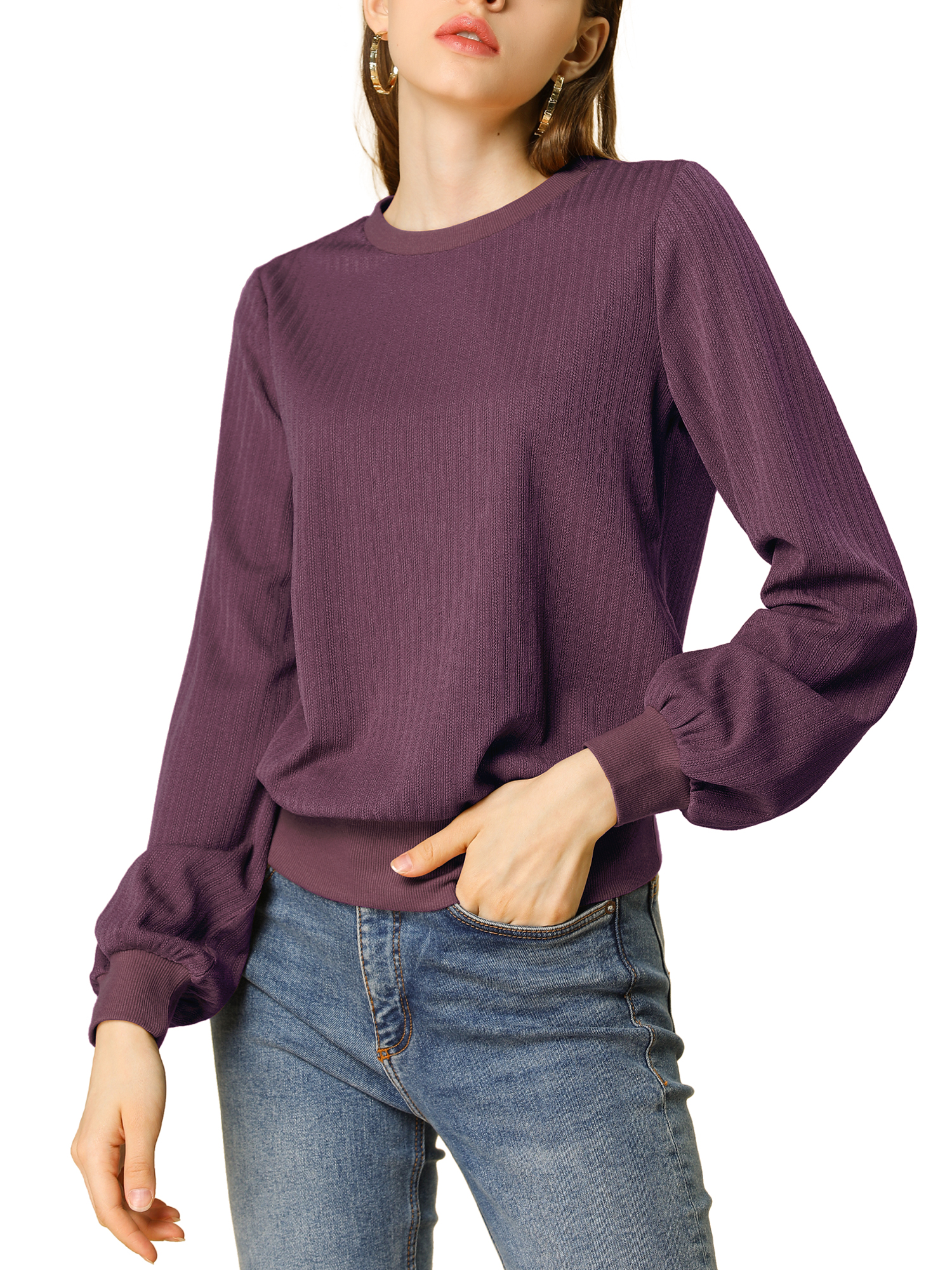 Allegra K Women's Lantern Sleeves Blouson Ribbed Top Sweater Gray Purple L