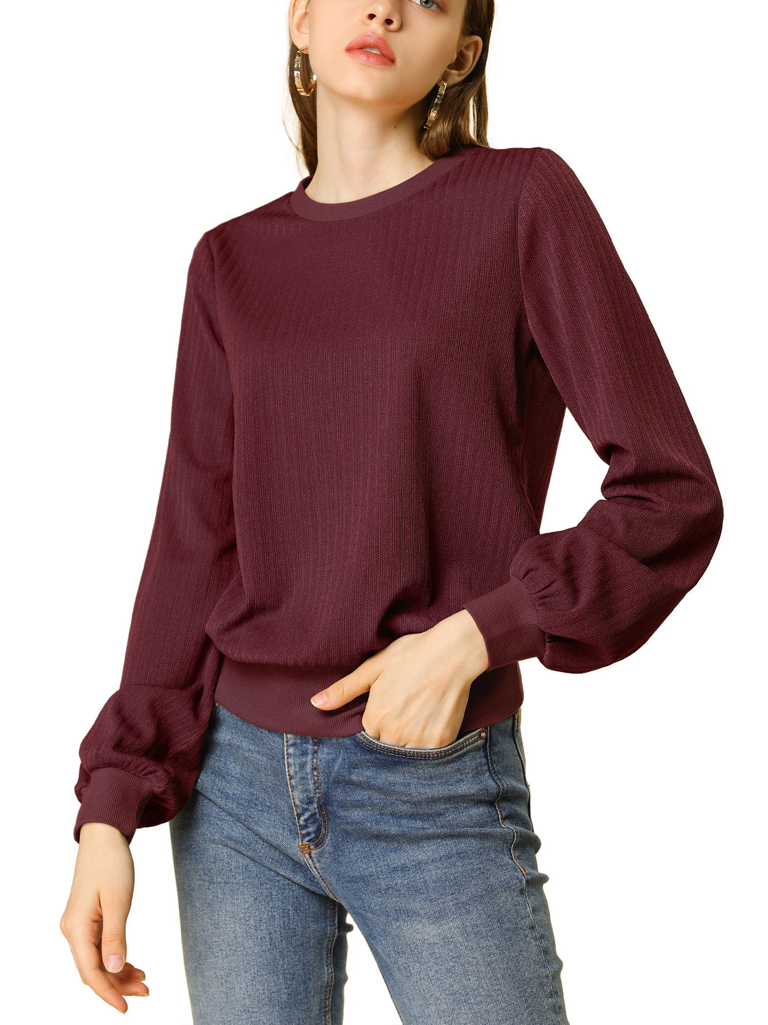 Allegra K Women's Lantern Sleeves Blouson Ribbed Top Sweater Burgundy M