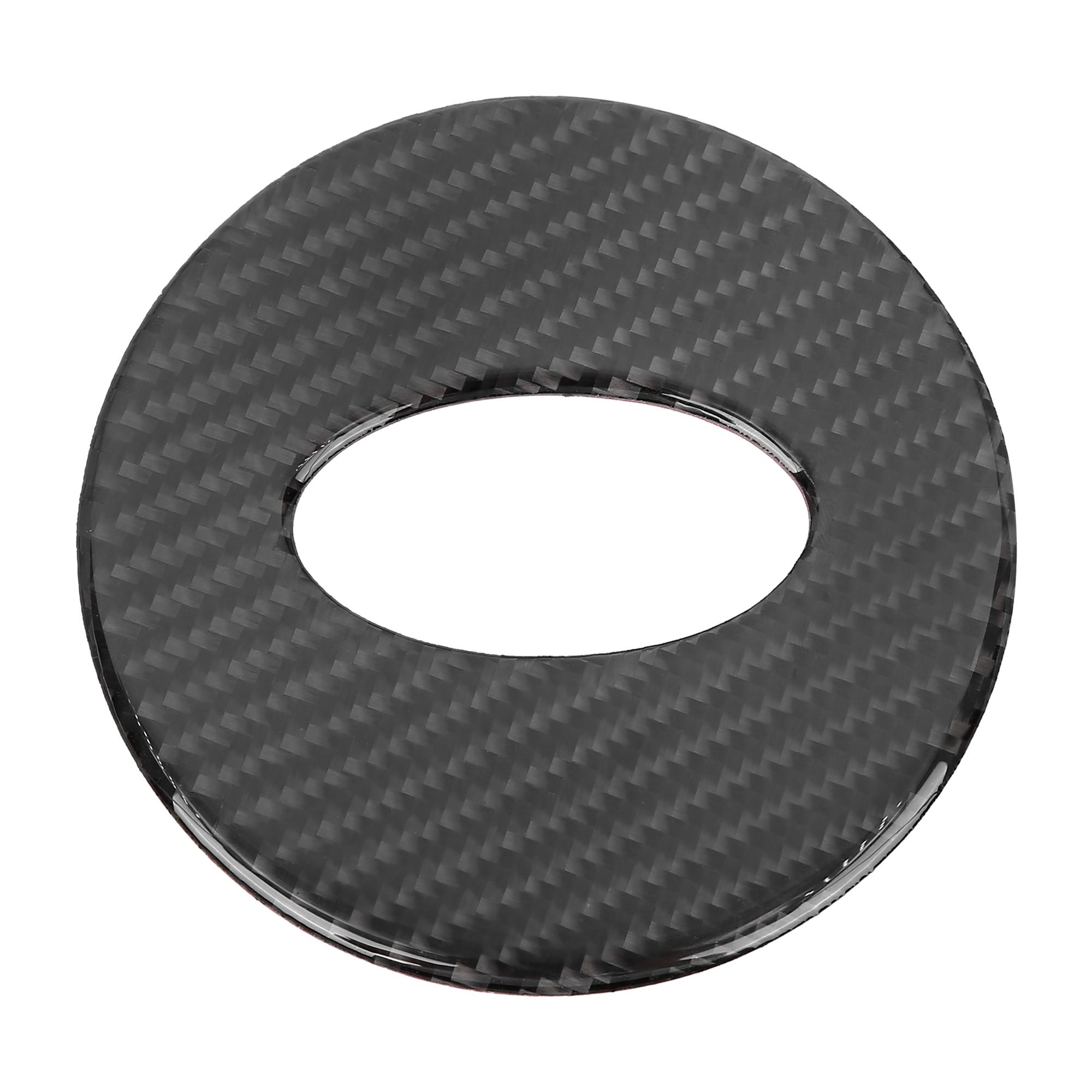 Car Interior Steering Wheel Trim Cover Carbon Fiber Pattern Black for Subaru