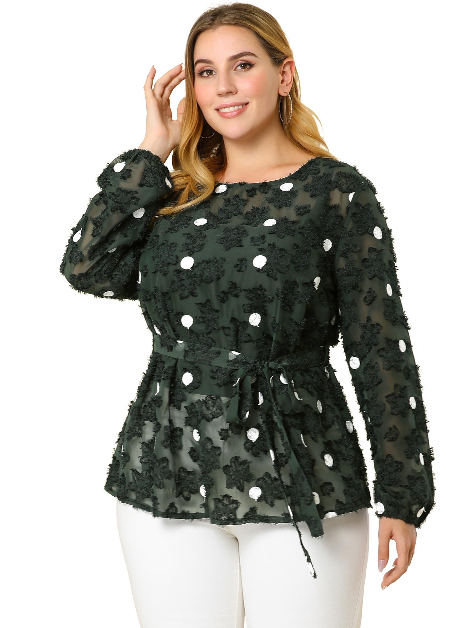 Women's Plus Size Belted High Waisted Polka Dots Peplum Mesh Lace Top Green 1X