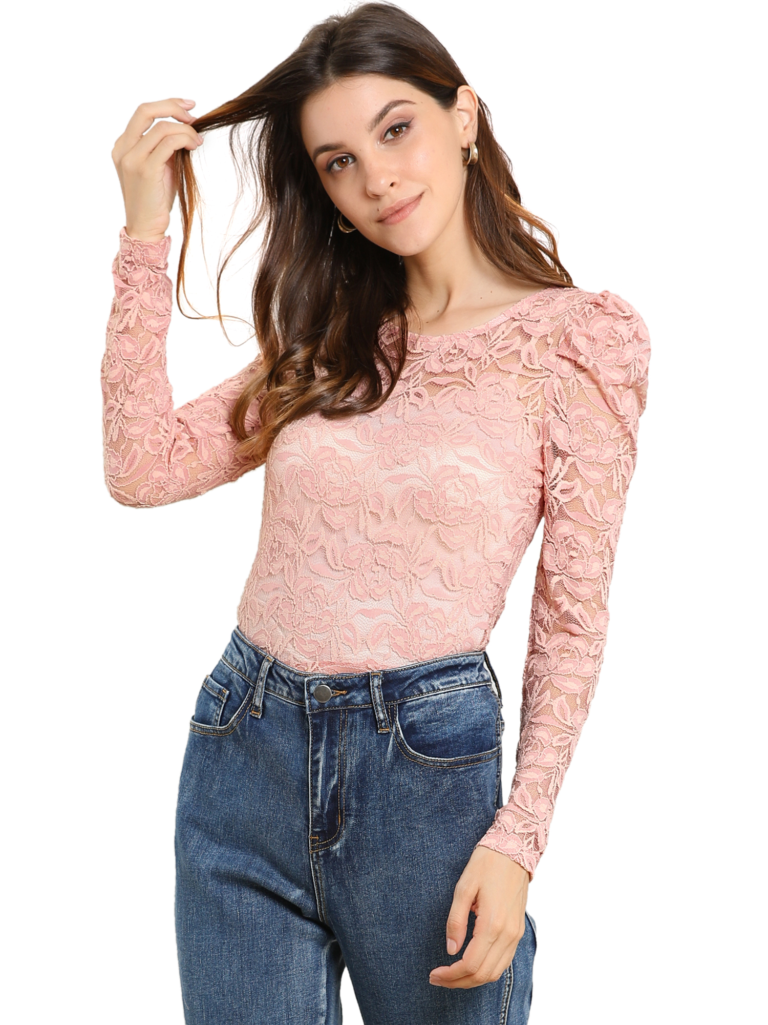 Allegra K Women's Puff Long Sleeve Semi Sheer Floral Lace Top Pink S