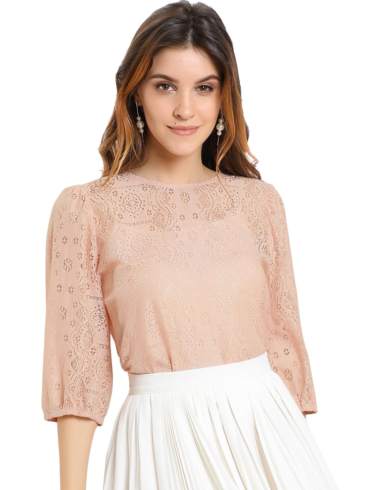 Allegra K Women's 3/4 Lantern Sleeve Semi Sheer Vintage Lace Tops Pink L