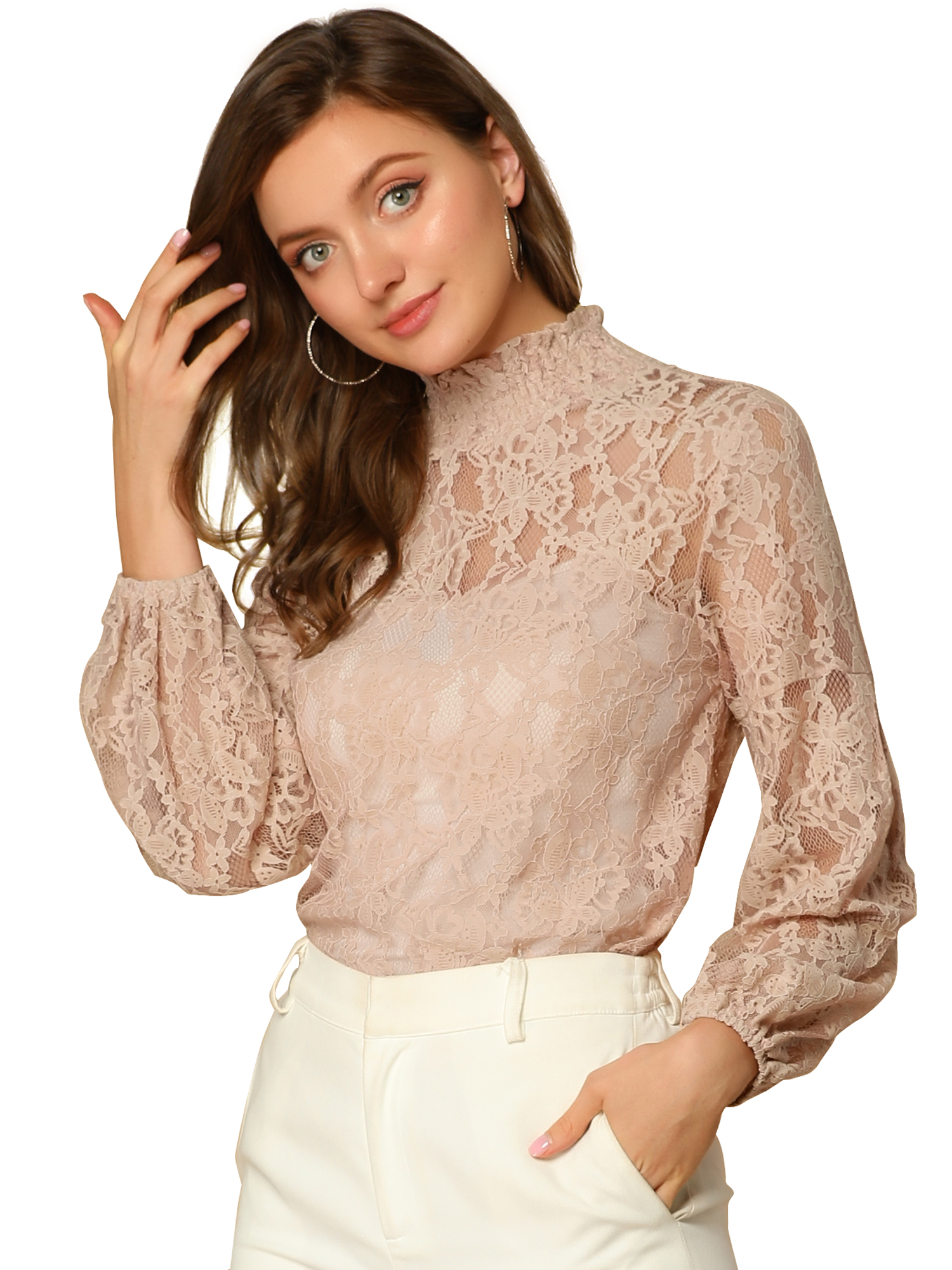 Allegra K Women's Lace Sheer Long Sleeves Vintage Tops Blouse Pink S