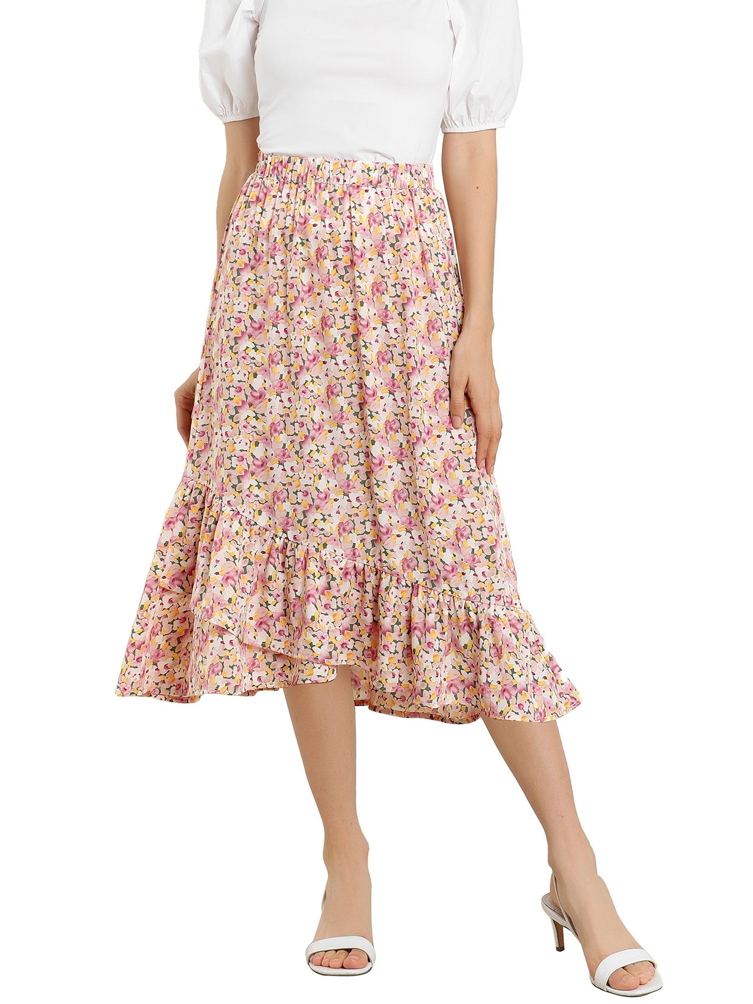 Women's Floral Fall Elastic Waist Ruffle High Low Hem Vintage Skirt Pink XS