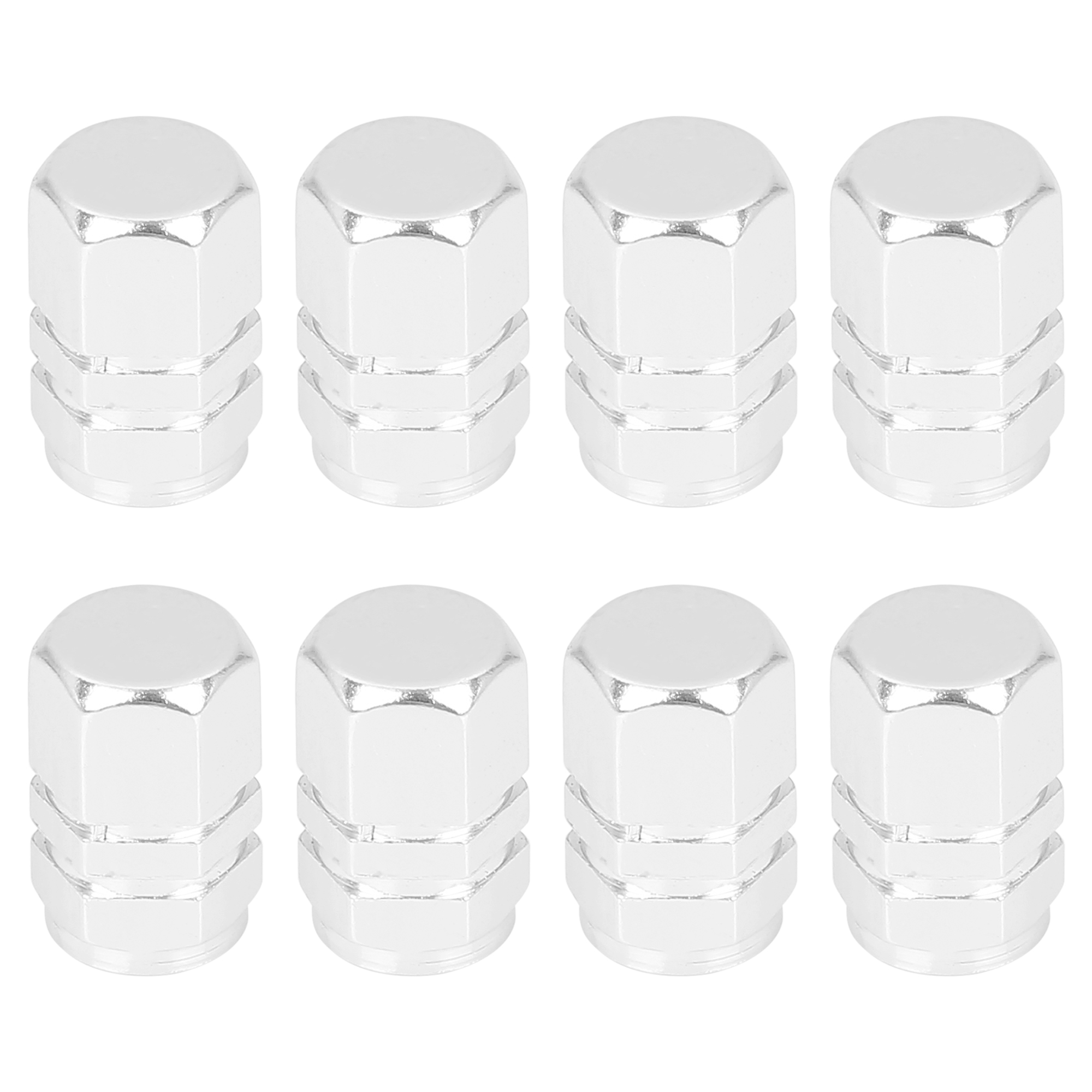8pcs Silver Tone Tire Stem Valve Caps Car Hexagon Shape Aluminium Alloy Tire Cap