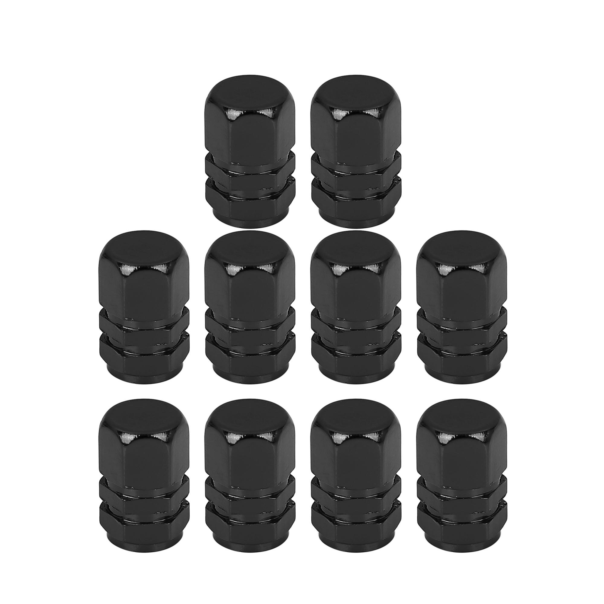 10pcs Black Tire Stem Valve Caps Car Hexagon Shape Aluminium Alloy Trie Cap
