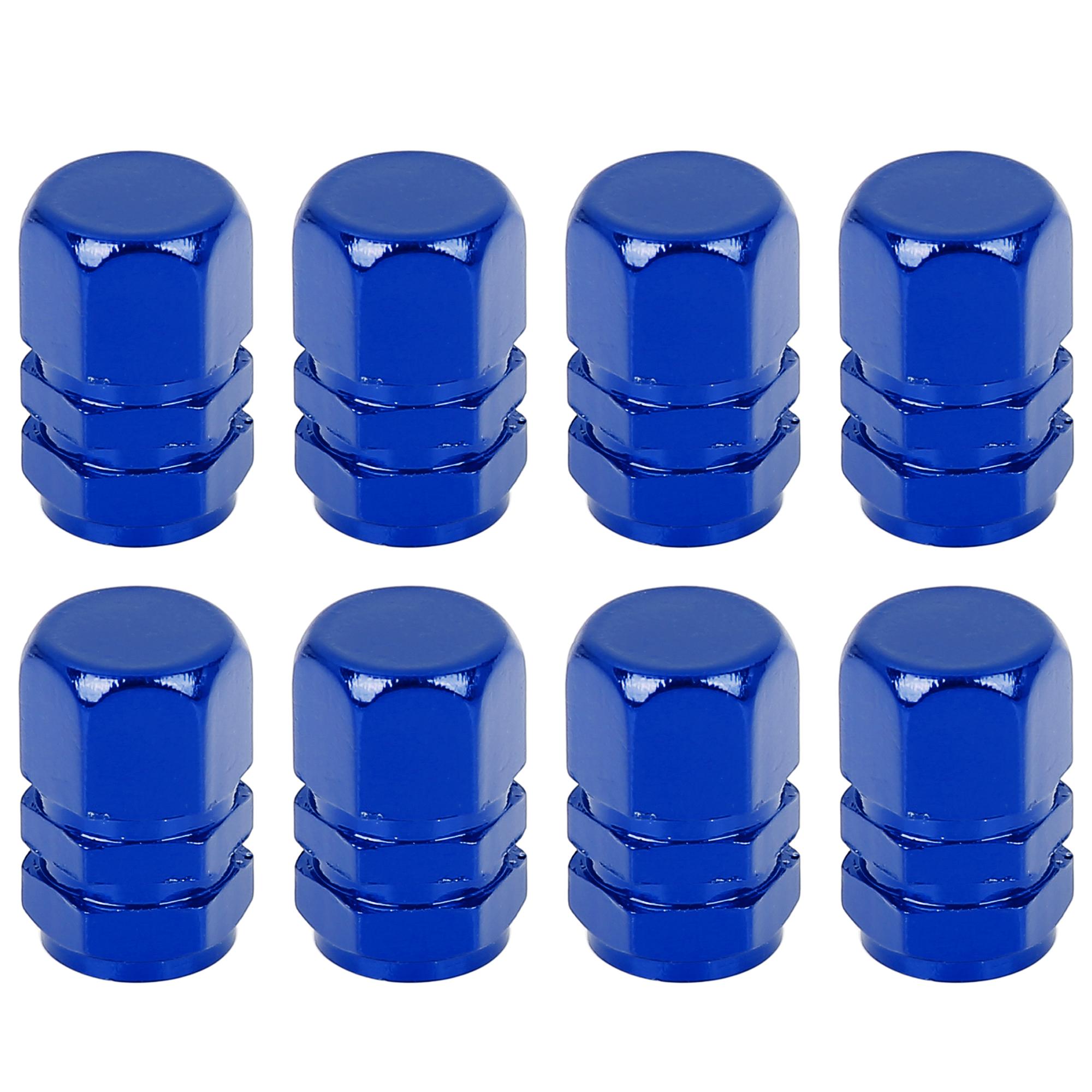 8pcs Navy Blue Tire Stem Valve Caps Car Hexagon Shape Aluminium Alloy Tire Cap