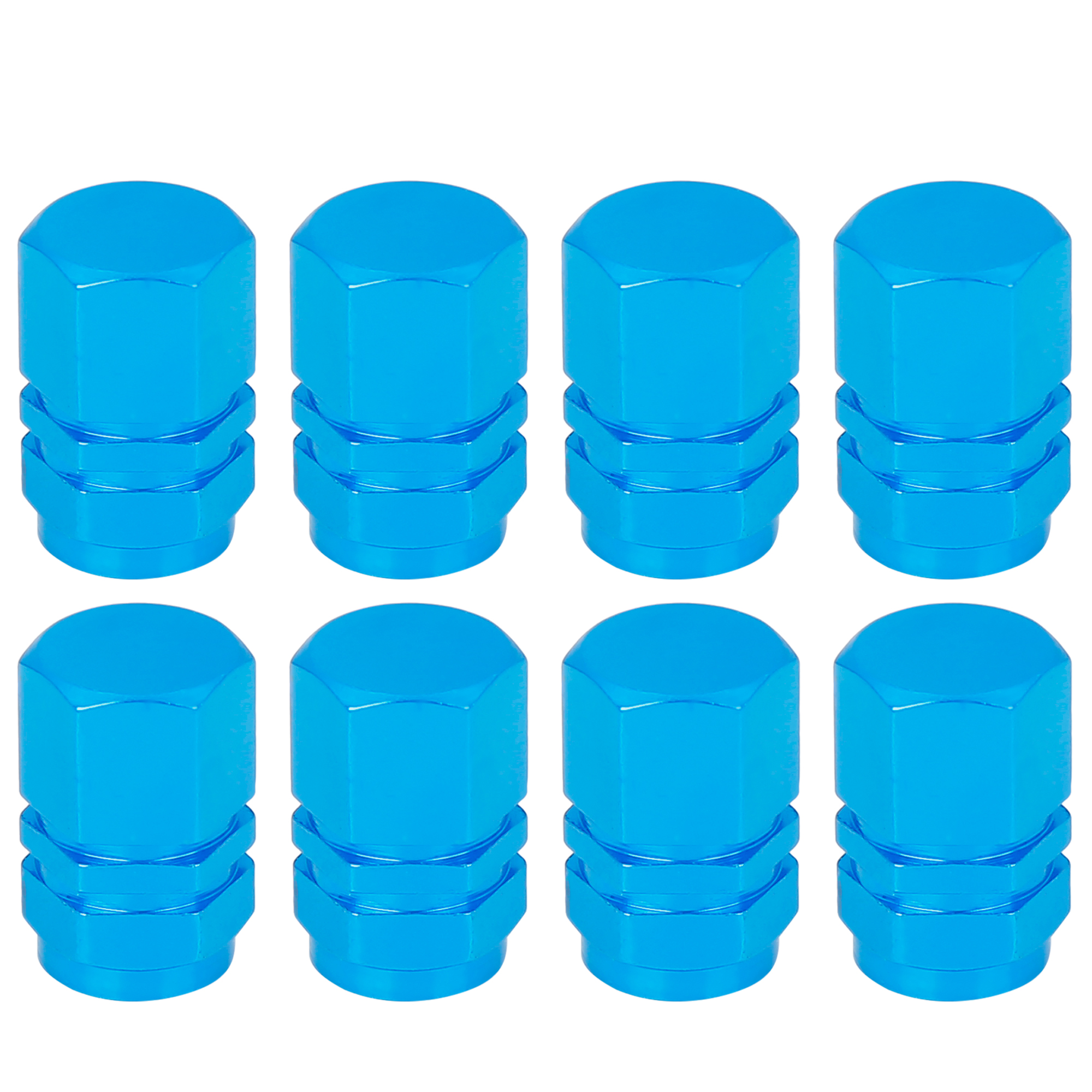 8pcs Blue Tire Stem Valve Caps Car Dustproof Hexagon Shape Aluminium Alloy