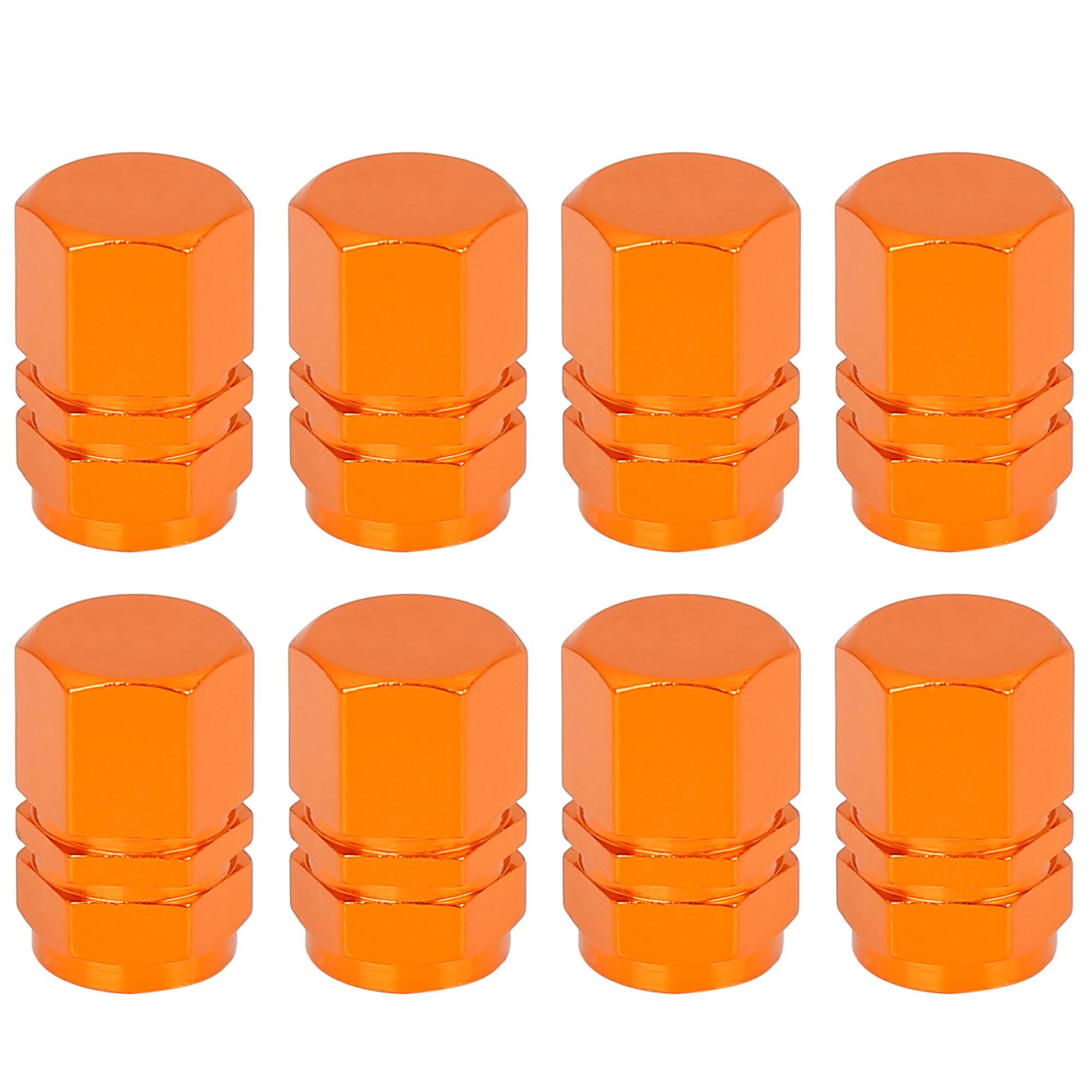 8pcs Orange Tire Stem Valve Caps Car Hexagon Shape Aluminium Alloy Tire Cap