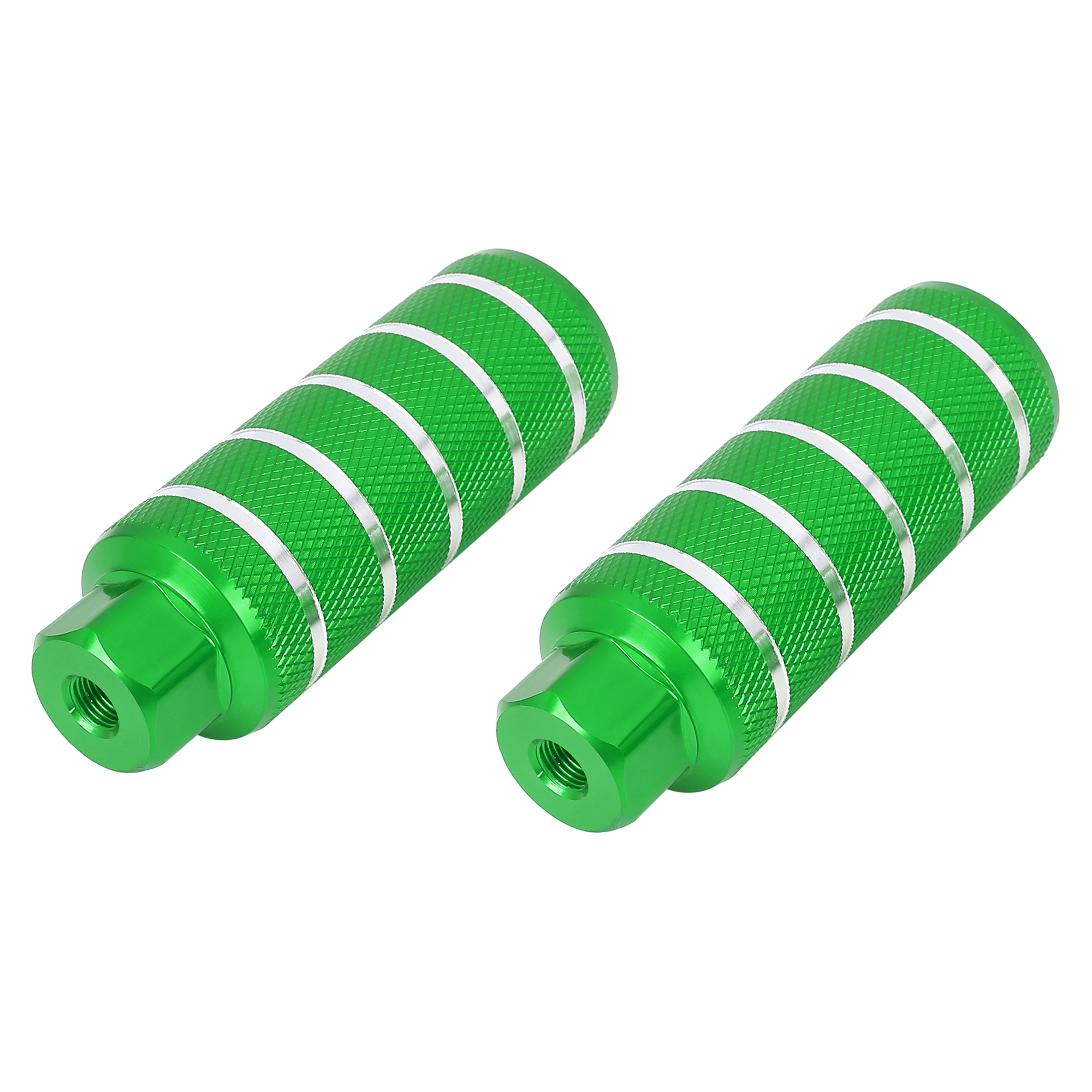 Pair Aluminum Alloy Stripe Cylinder Bike Axle Rear Foot Pegs Footrests Green