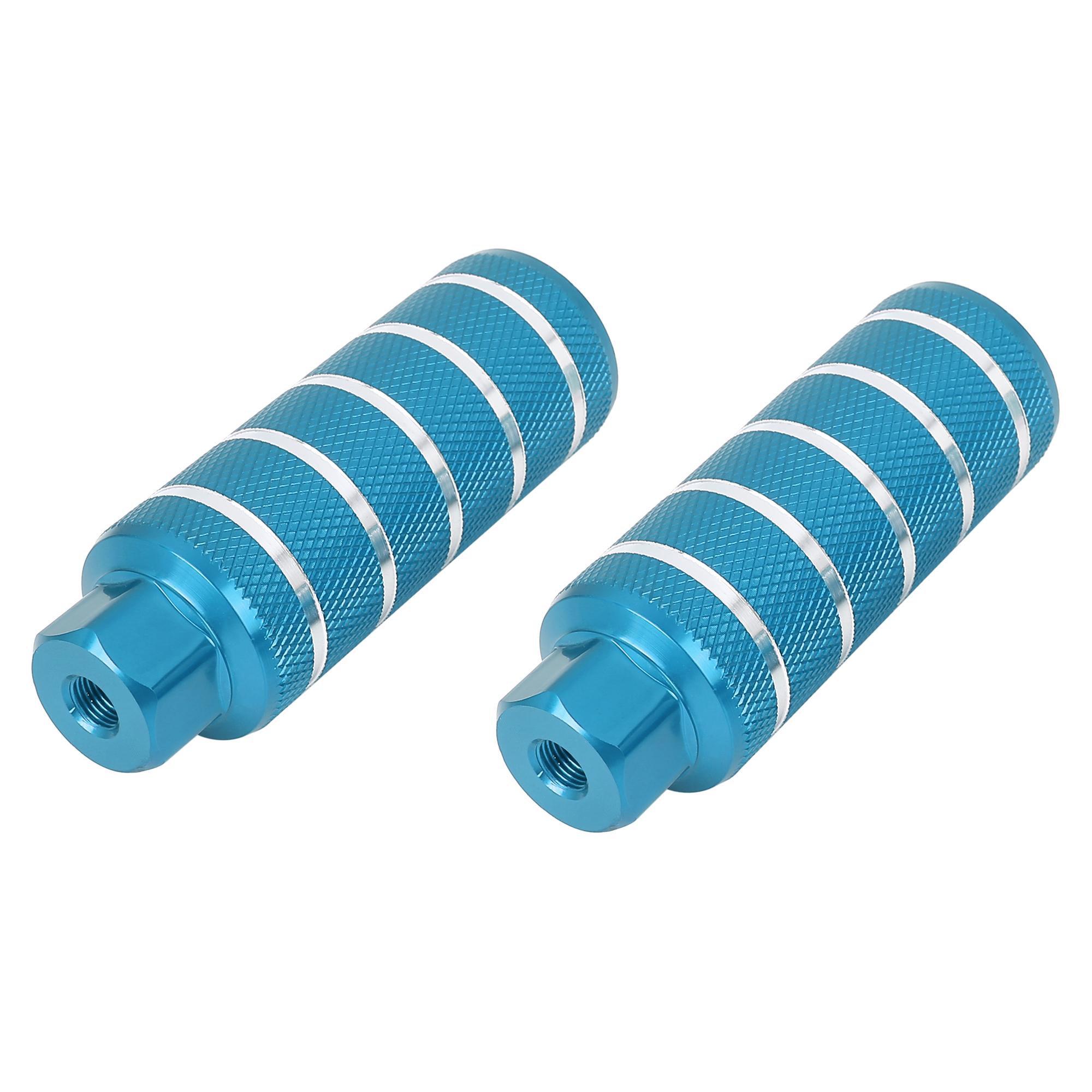 Pair Aluminum Alloy Stripe Cylinder Bike Axle Rear Foot Pegs Sky Blue
