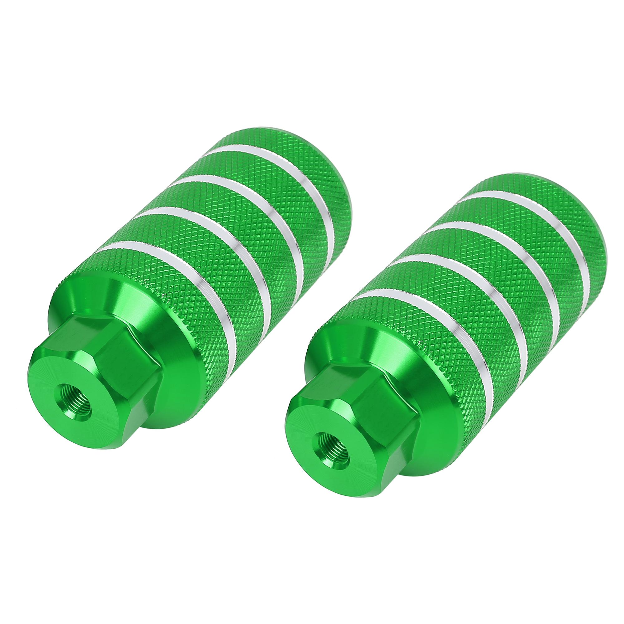 Pair Stripe Cylinder Bike Axle Rear Foot Pegs Fit 3/8 Inch 110x50mm Green