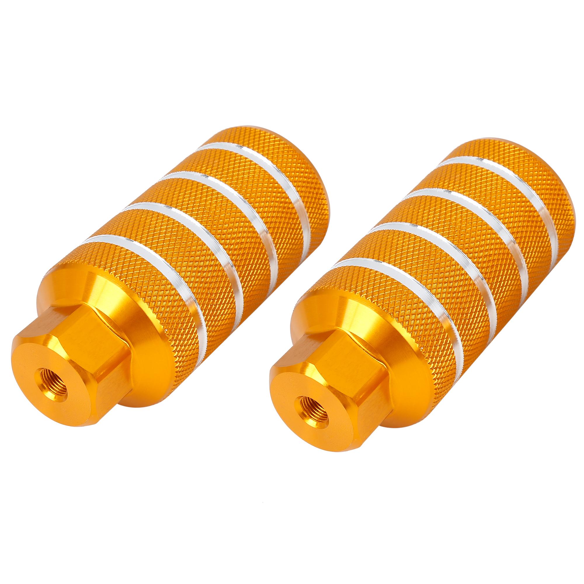 Pair Stripe Cylinder Bike Axle Rear Foot Pegs Fit 3/8 Inch 110x50mm Orange