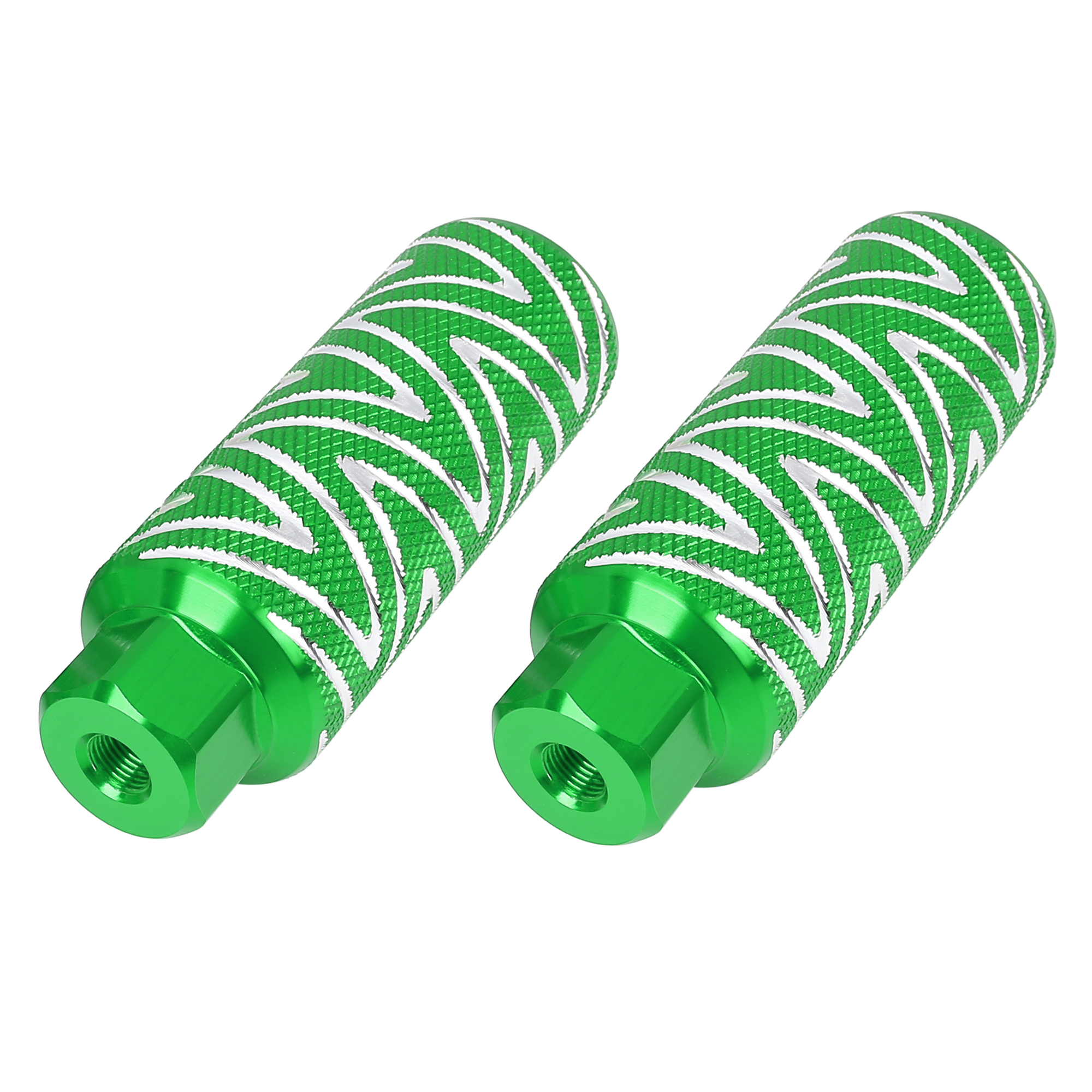 Pair Aluminum Alloy Wave Stripes Bike Foot Pegs Fit 3/8 Inch 110x38mm Green