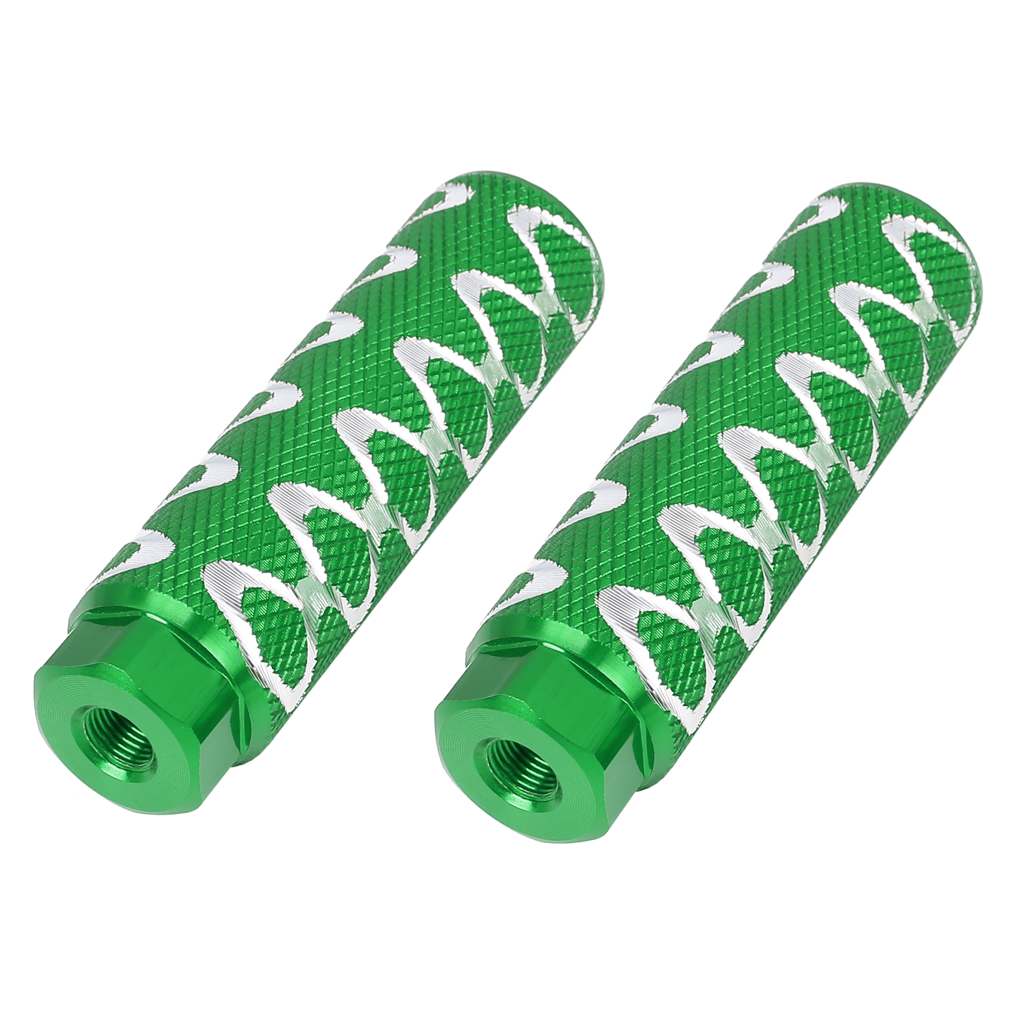 Pair Round Wave Stripes Bike Axle Rear Foot Pegs Fit 3/8 Inch 100x28mm Green