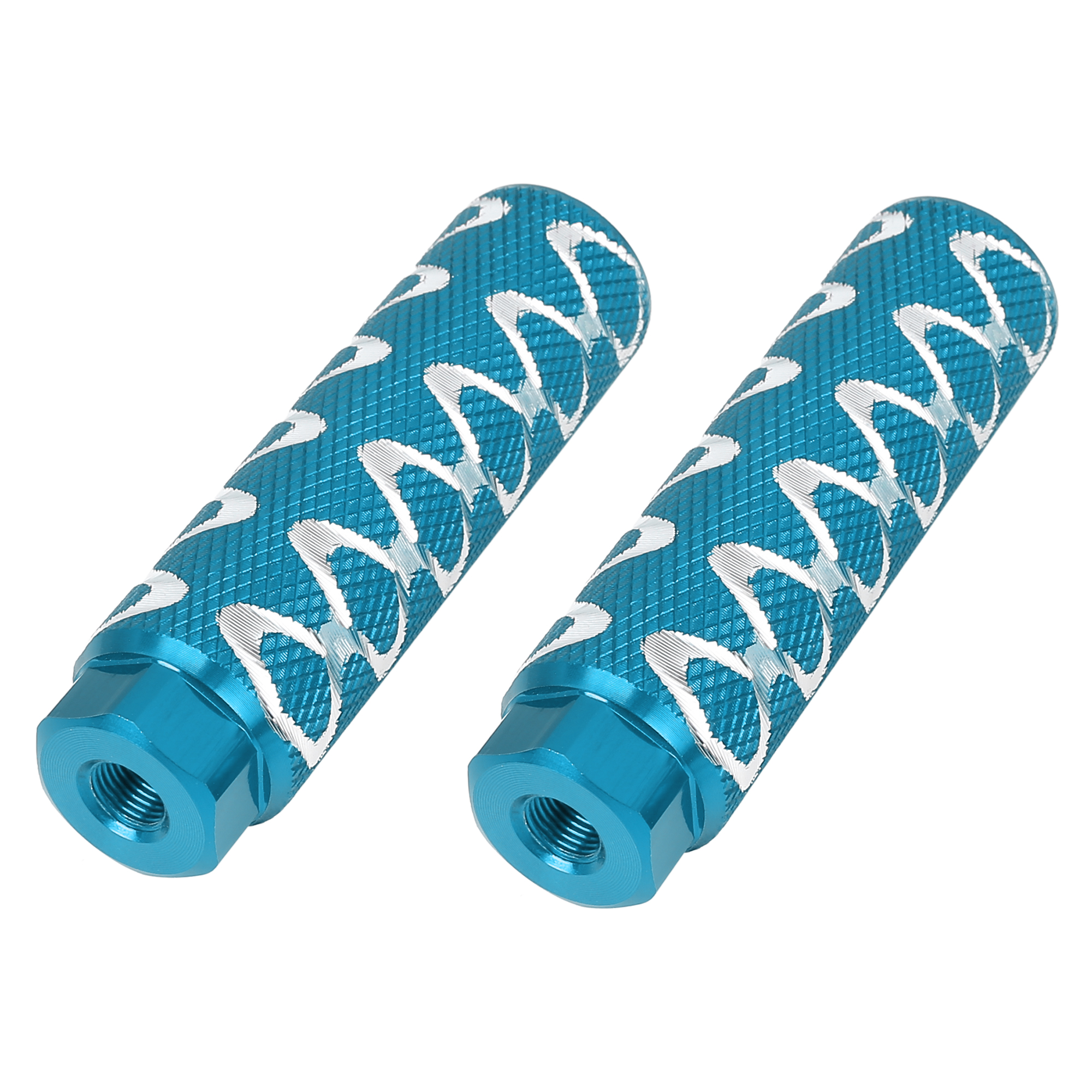 Pair Round Wave Stripes Bike Foot Pegs Fit 3/8 Inch 100x28mm Sky Blue