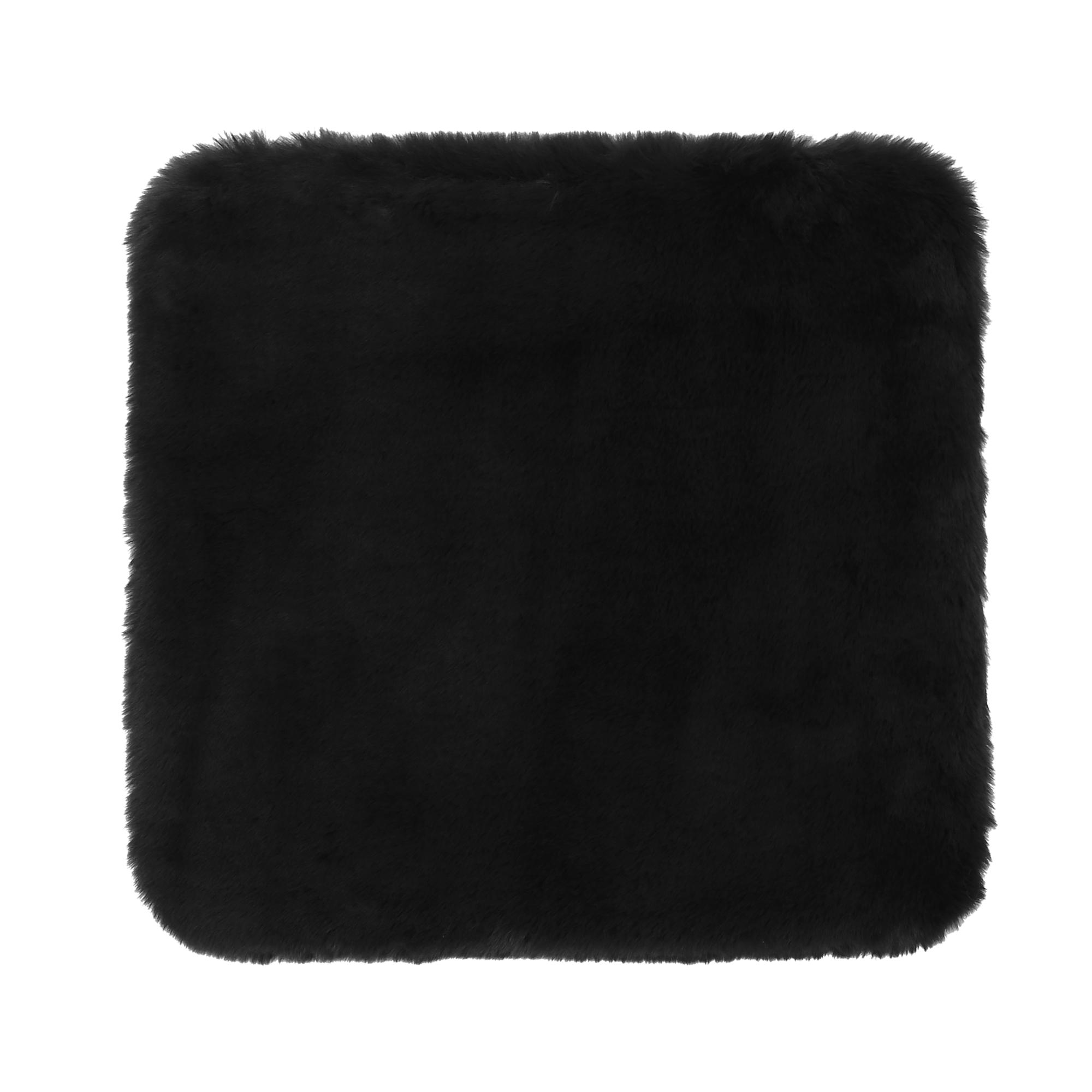 Universal Soft Faux Plush Cushion Warm Interior Seat Cover Pad for Auto Black