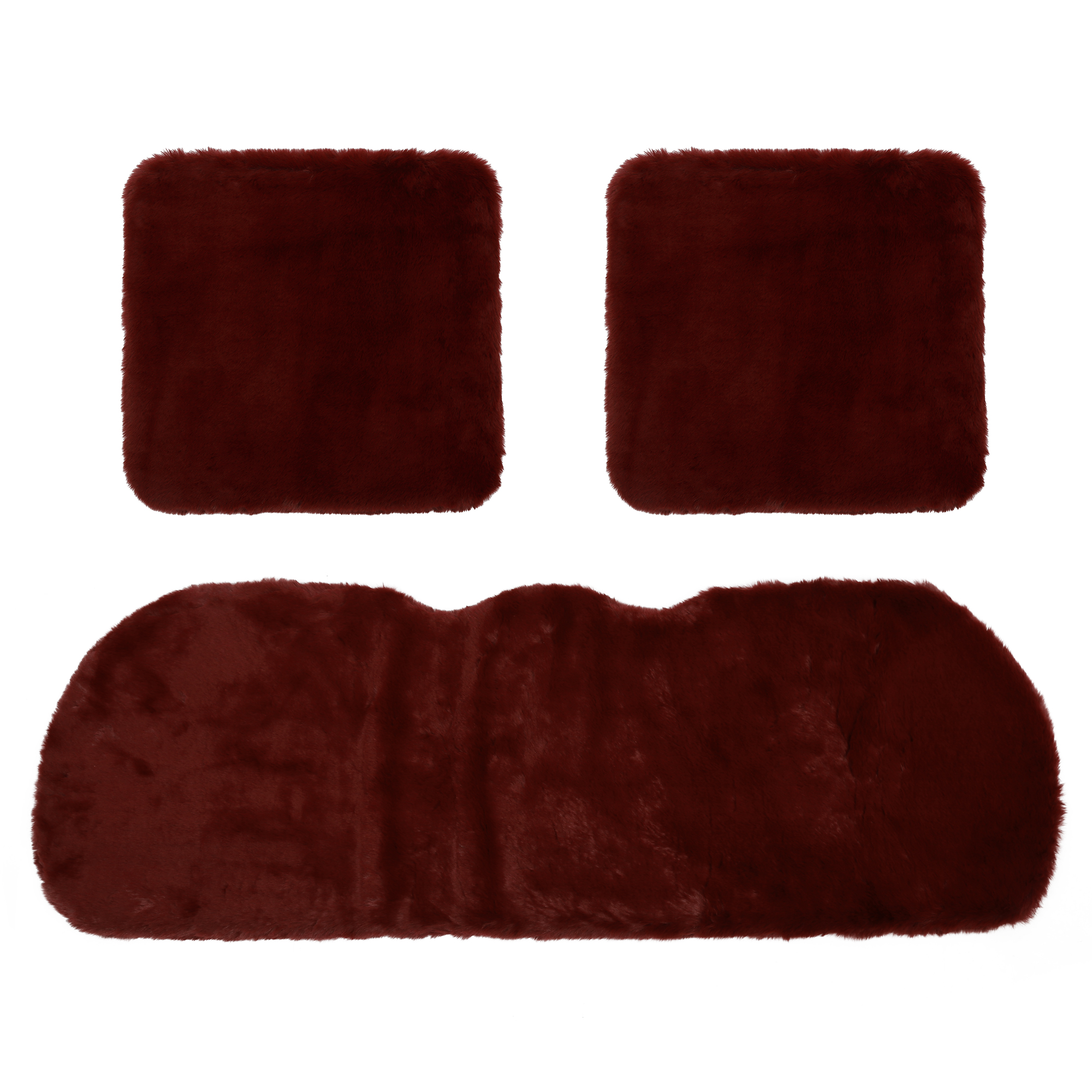 3pcs Universal Soft Faux Plush Cushion Warm Interior Seat Cover Pad for Auto Red