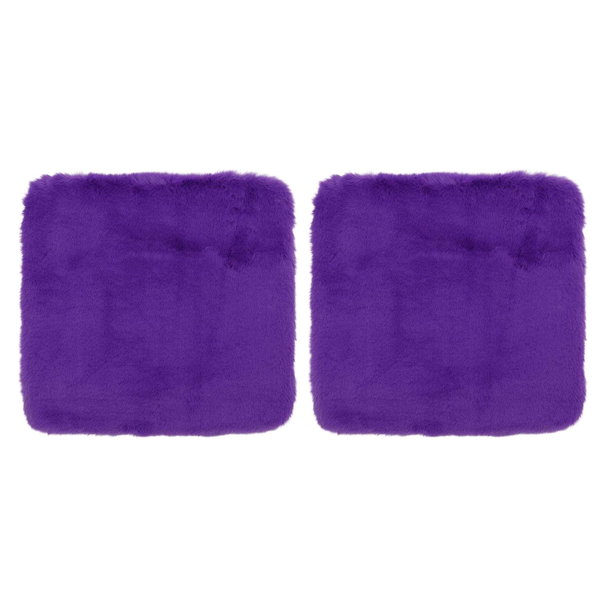 2pcs Universal Auto Soft Faux Plush Cushion Warm Interior Seat Cover Pad Purple