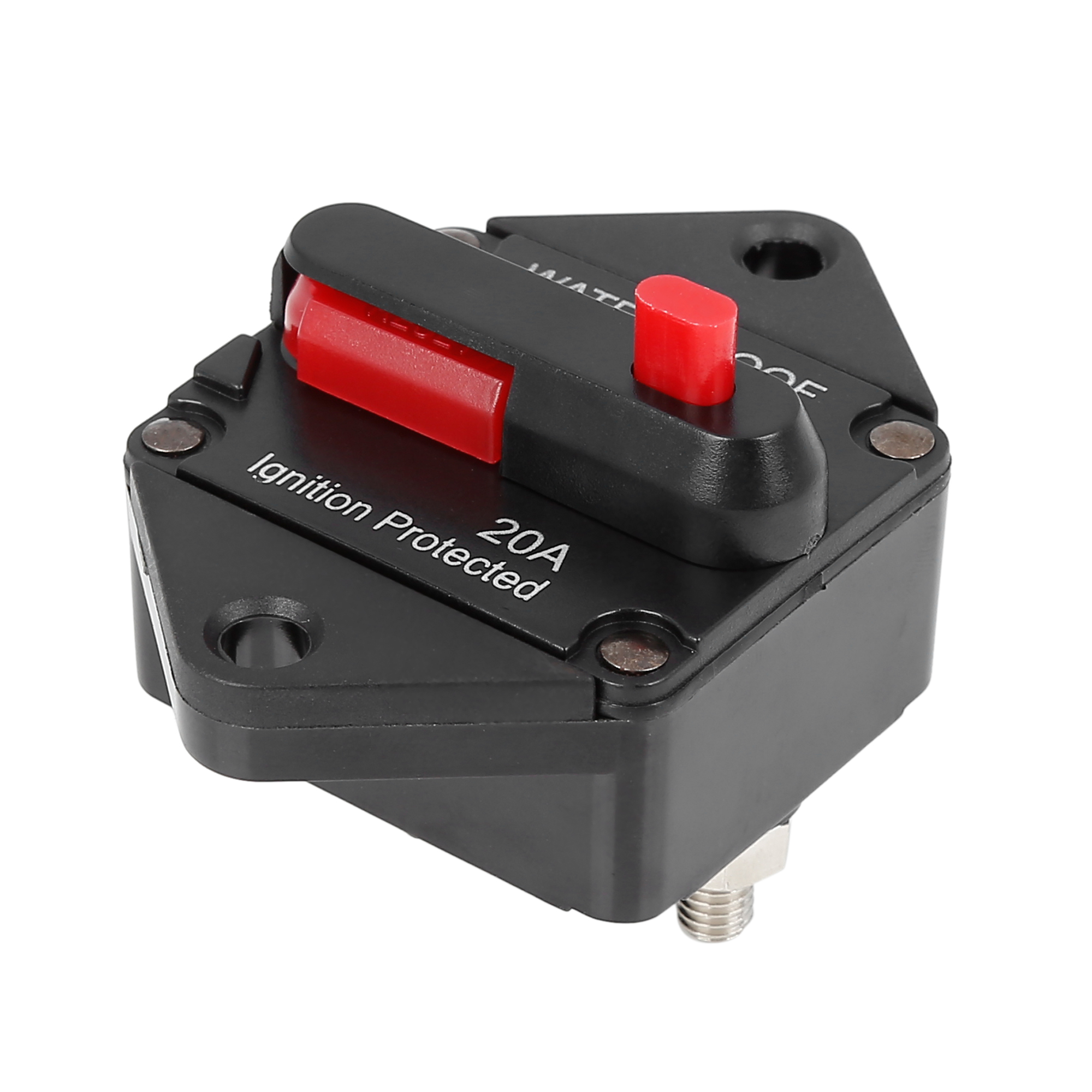 Fuse Holders Inverter Circuit Breaker 20A Red Button Waterproof for Car