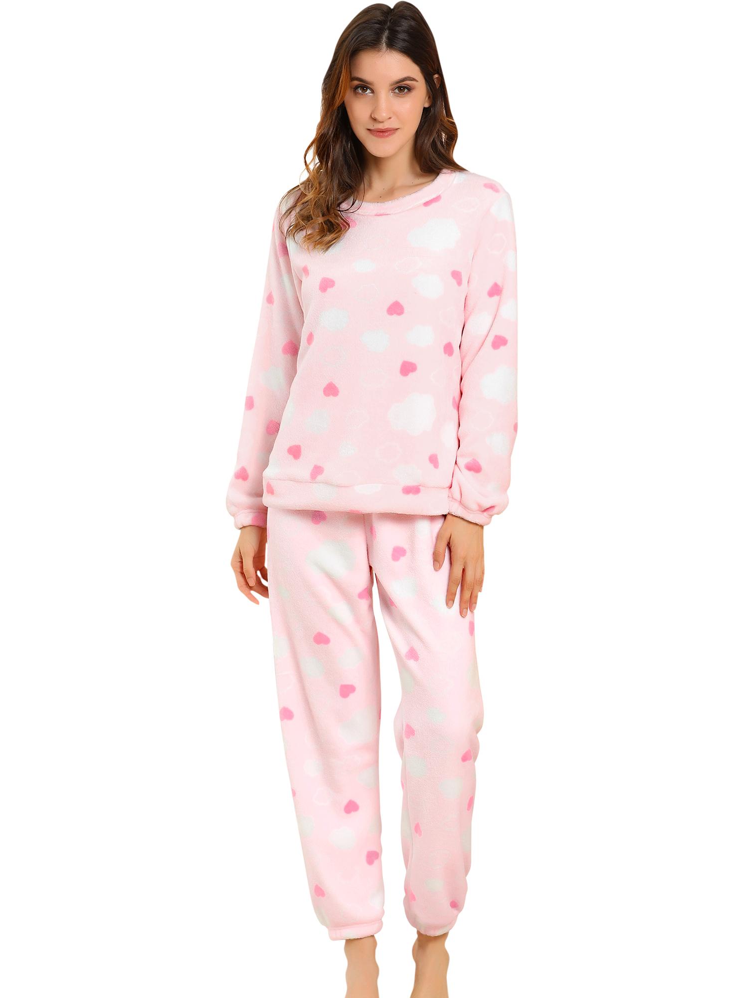 Winter Flannel Pajama Sets for Women Long Sleeve Nightwear Small Heart Pink