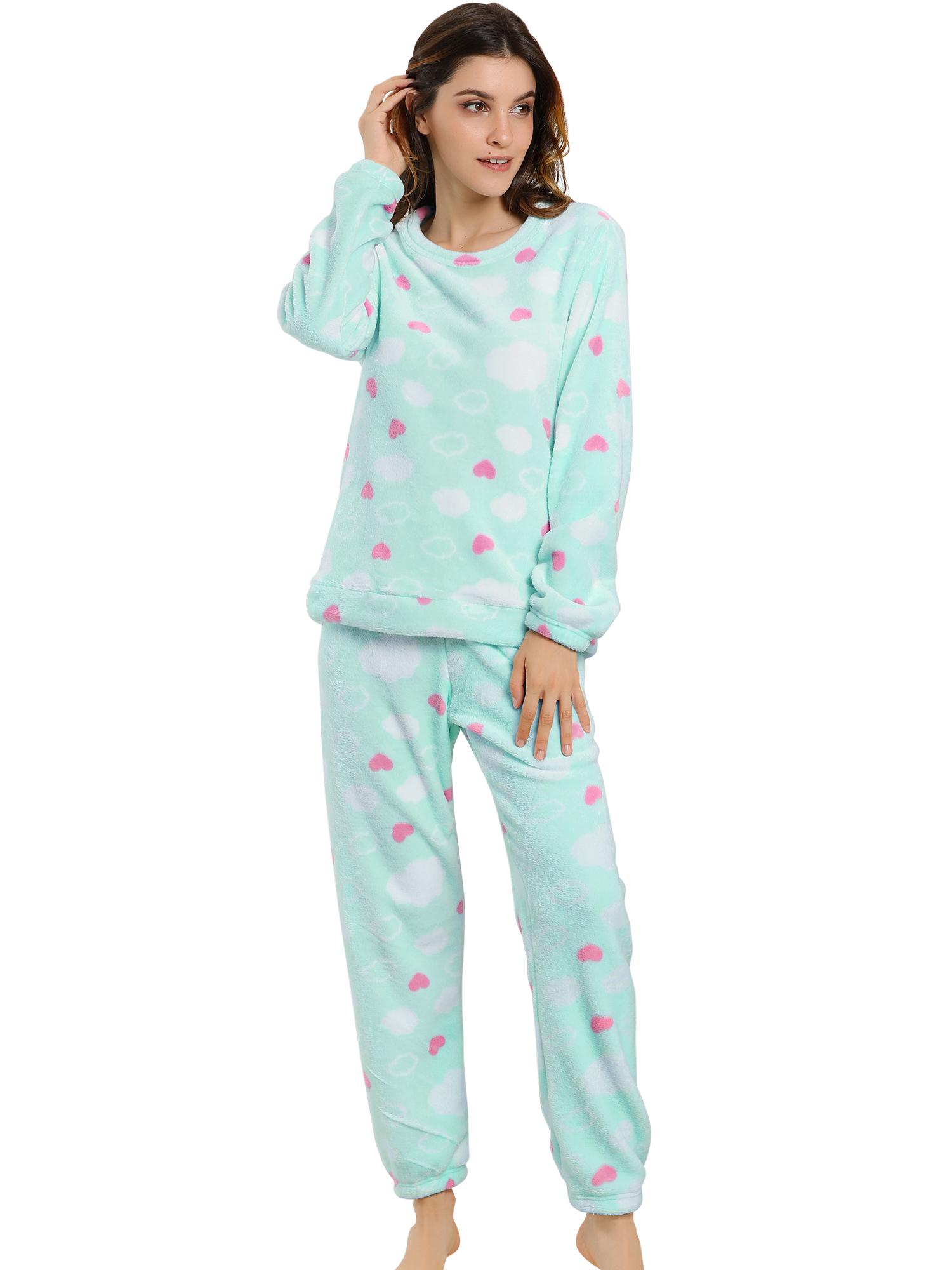 Winter Flannel Pajama Sets for Women Long Sleeve Nightwear X-Large Heart Blue