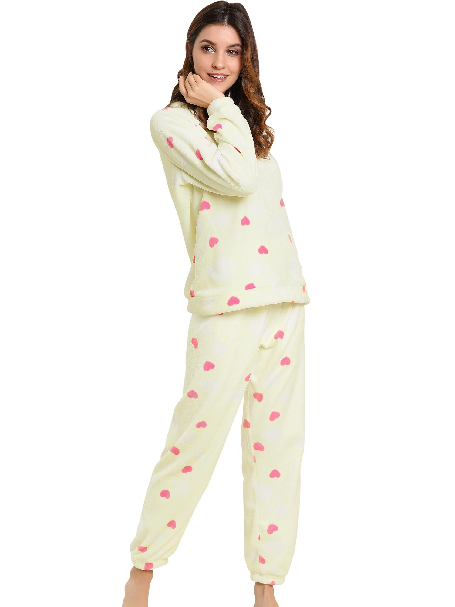 Winter Flannel Pajama Sets for Women Long Sleeve Nightwear X-Large Heart Yellow