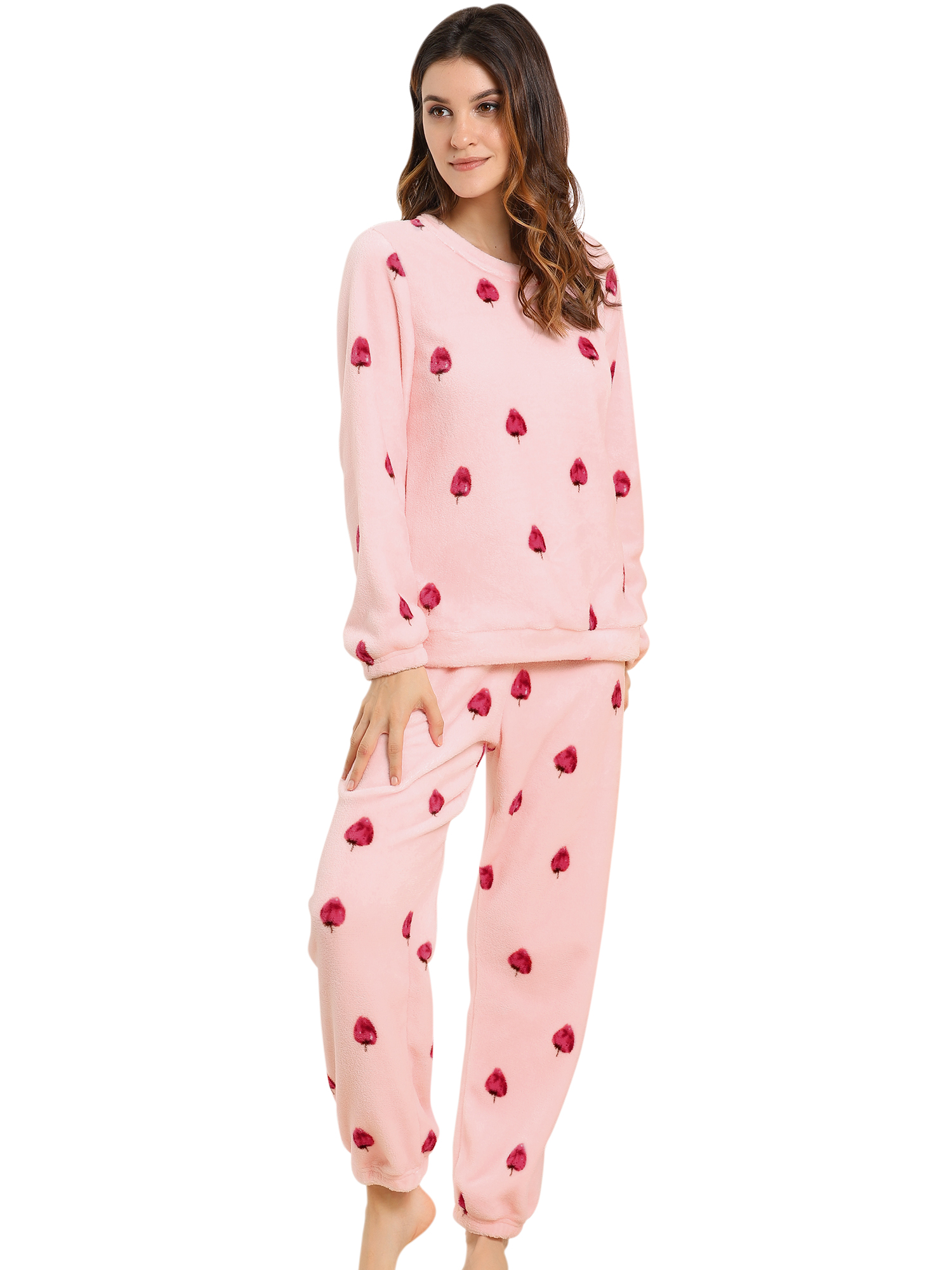 Winter Flannel Pajama Sets for Women Long Sleeve Medium Strawberry Pink