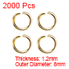 2000pcs Golden 8mm Open Jump Rings Keychain Connector Necklace Bracelet Pendant