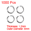 1000pcs 8mm Open Jump Rings Silver Keychain Connector Necklace Bracelet Pendant