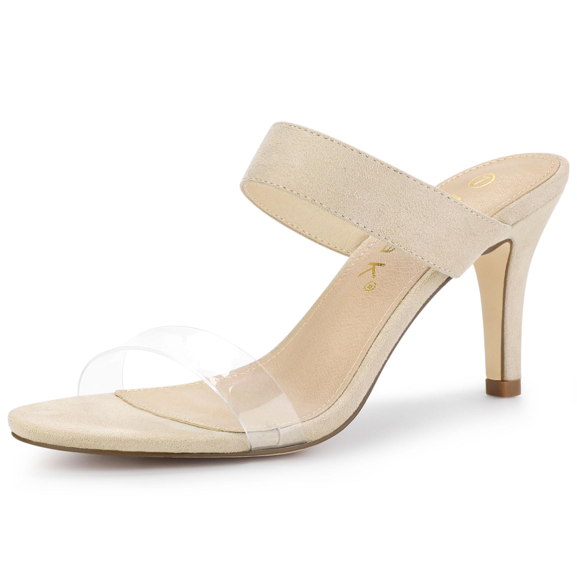 Allegra K Women's Clear Strap Stiletto Heel Slides Sandals Beige US 7