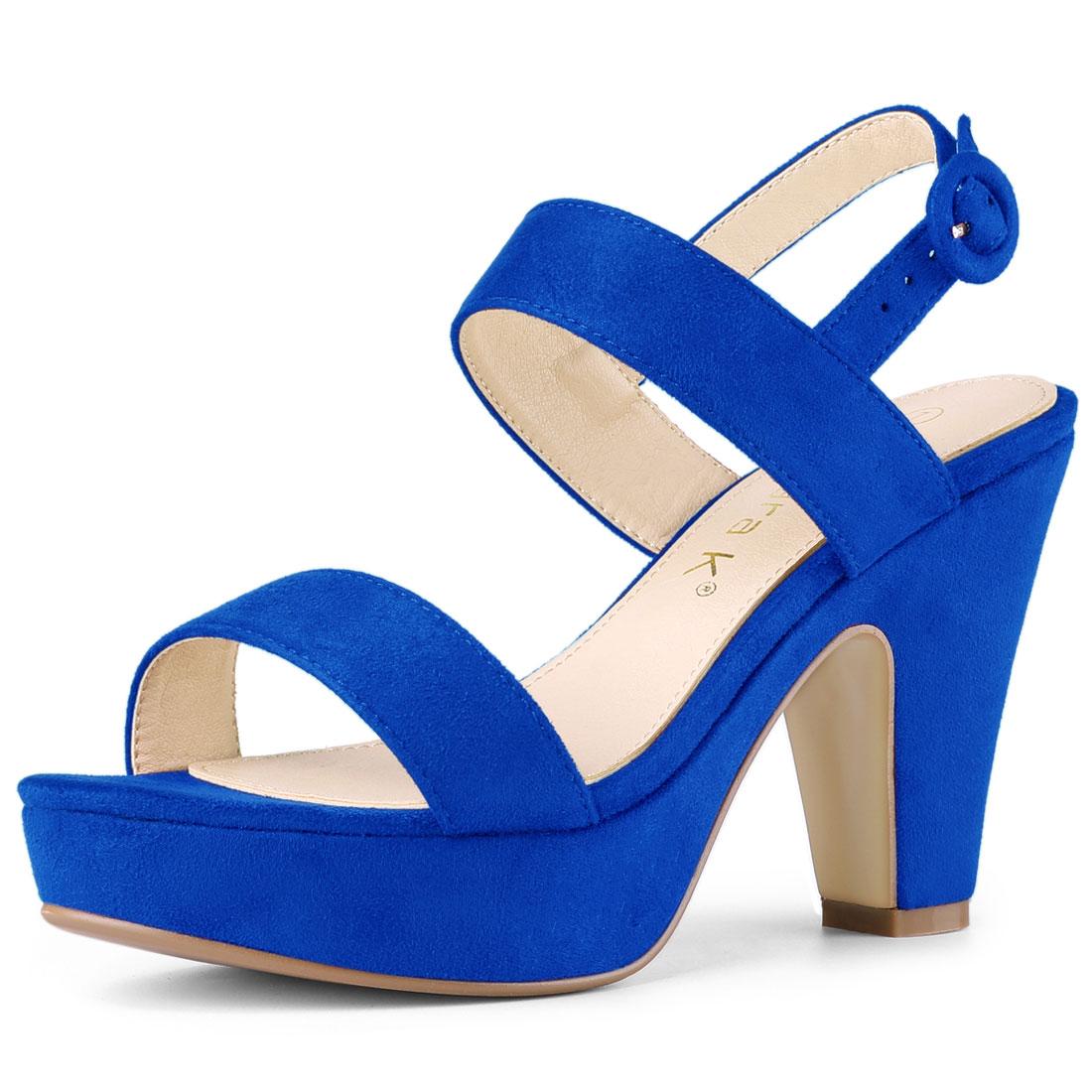 Allegra K Women's Slingback Platform Chunky Heel Sandals Deep Blue US 7