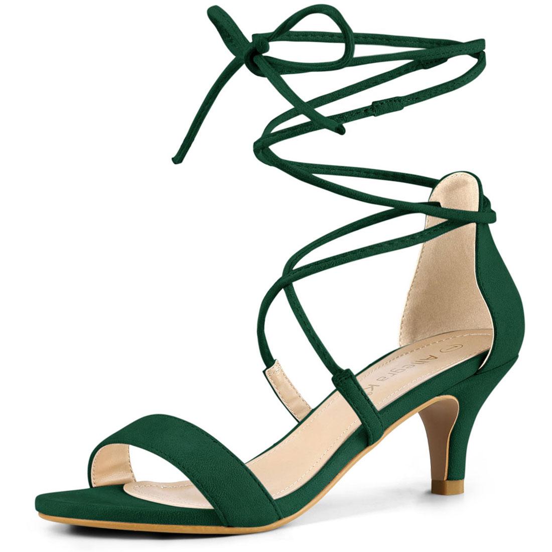 Allegra K Women's Kitten Heel Lace Up Open Toe Sandals Green US 8