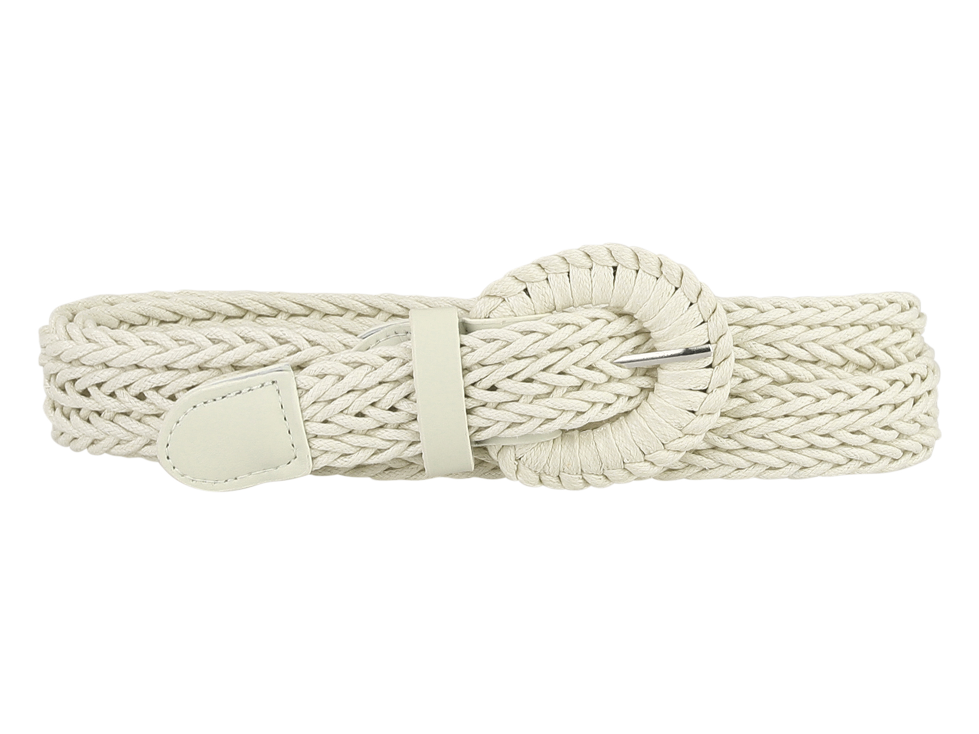 """Women PU Leather Braided Waist Belt Plus Size Skinny Belt for Dress Pants with Pin Buckle Beige Fit waist up to 105cm/41"""""""