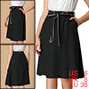 Allegra K Women's Bow Knot A-line Contrast Belted Skirt Black S