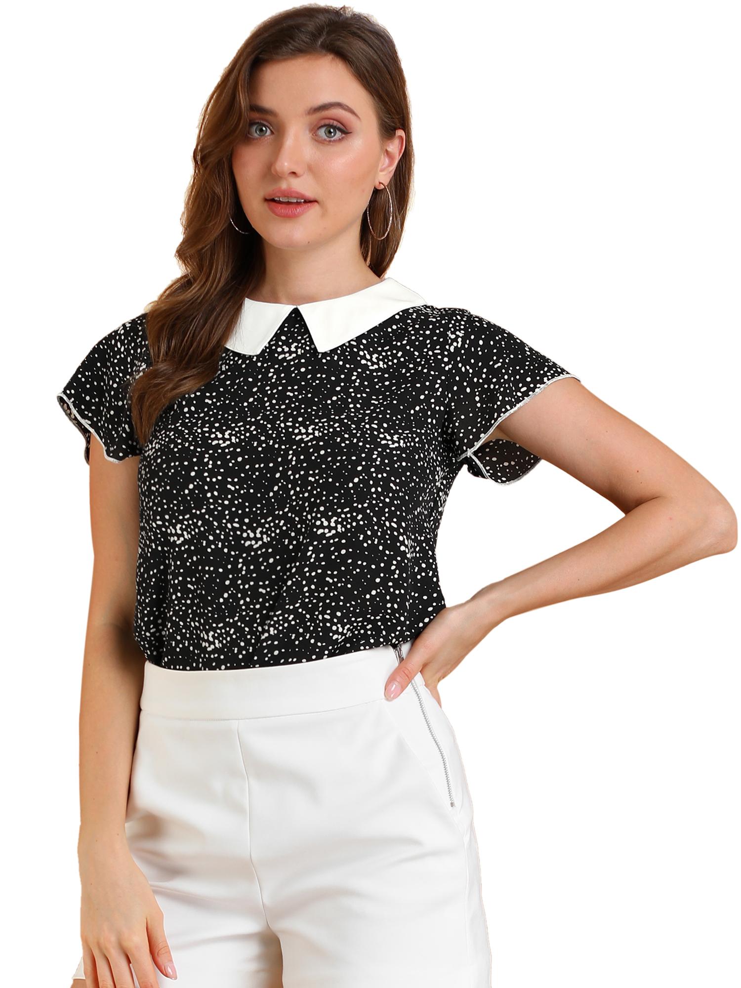 Allegra K Women's Irregular Polka Dots Contrast Collar Blouse Black M