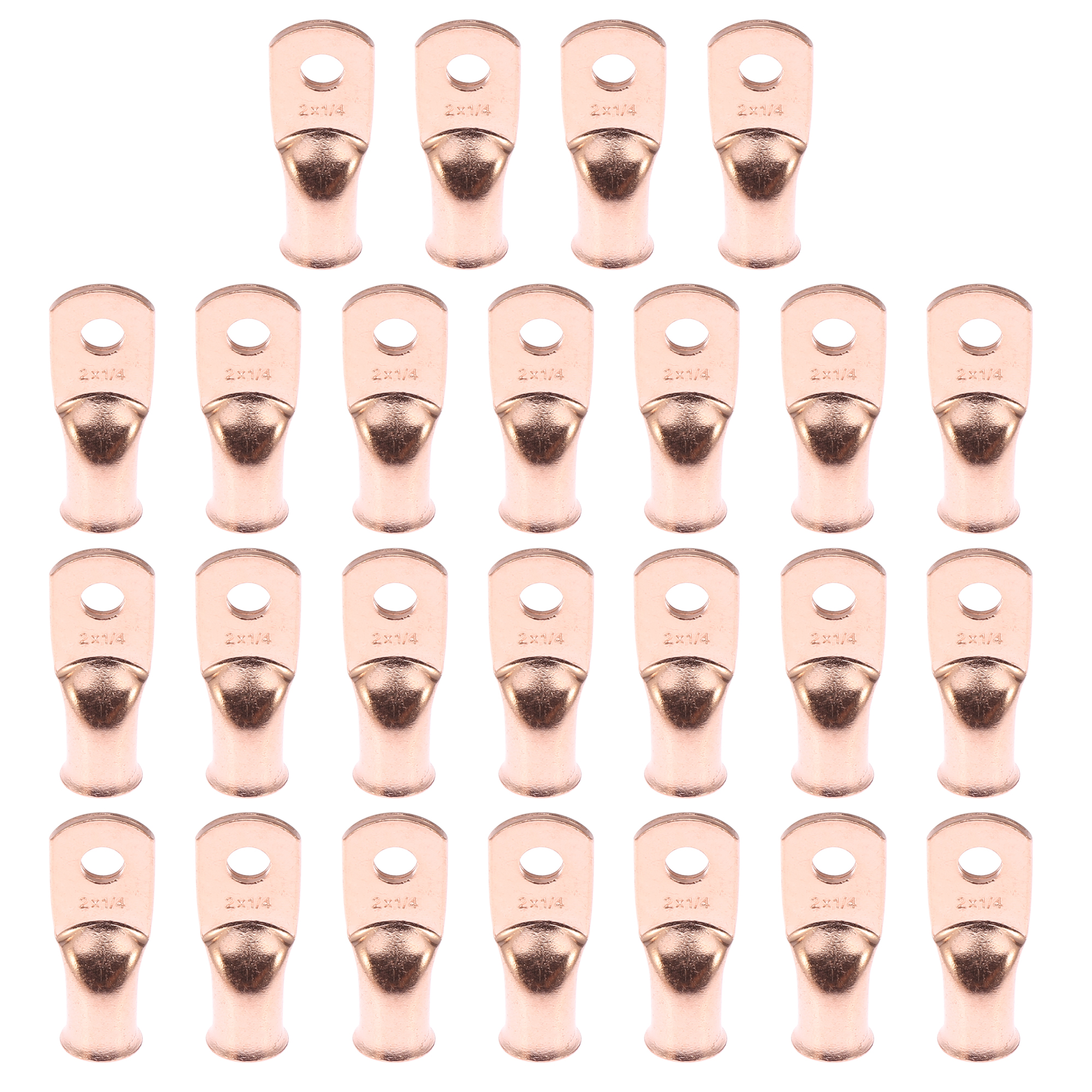 """25pcs 2 AWG-1/4"""" Car Battery Cable Ends Tubular Ring Terminals Copper Tone"""