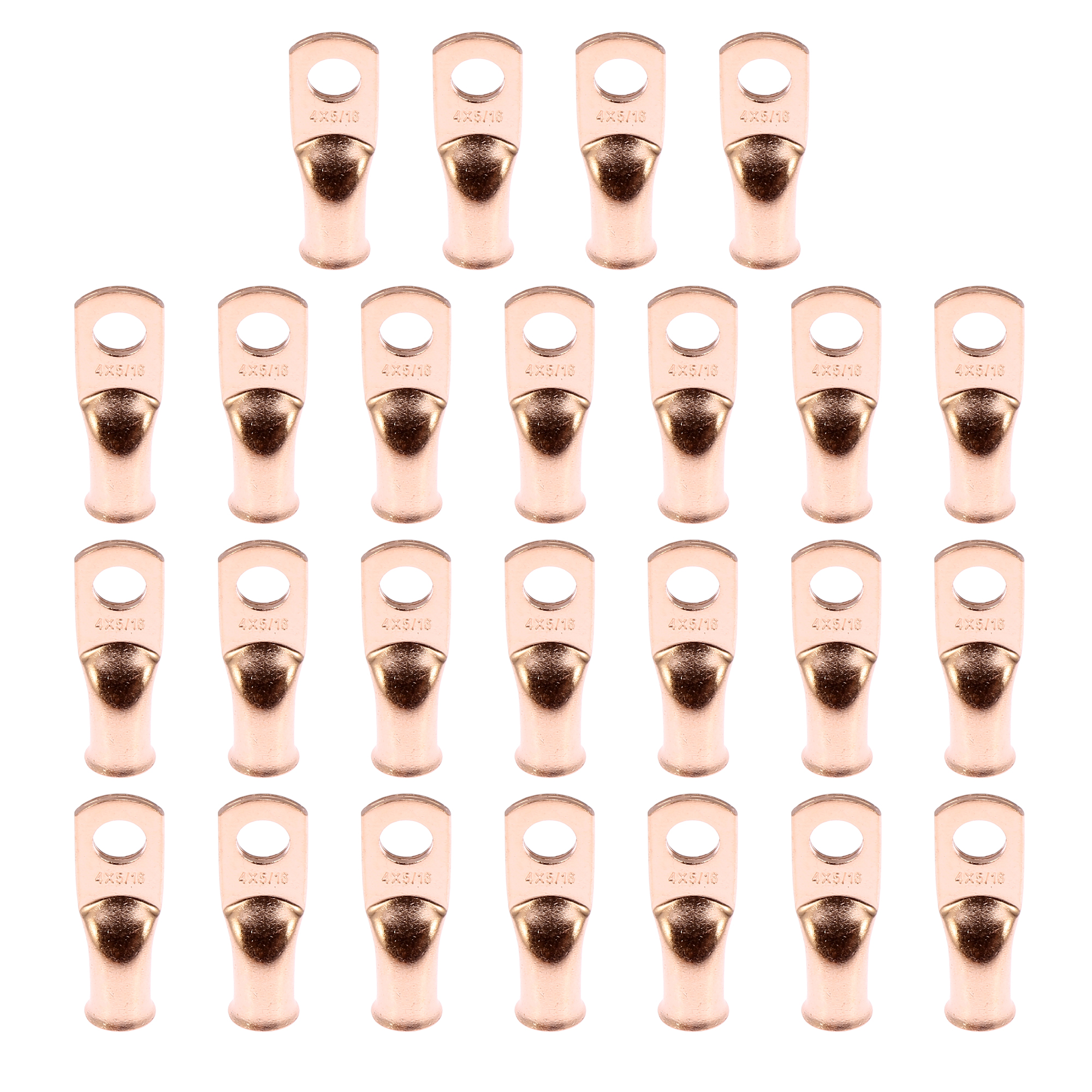 """25pcs 4 AWG-5/16"""" Car Battery Cable Ends Tubular Ring Terminals Copper Tone"""